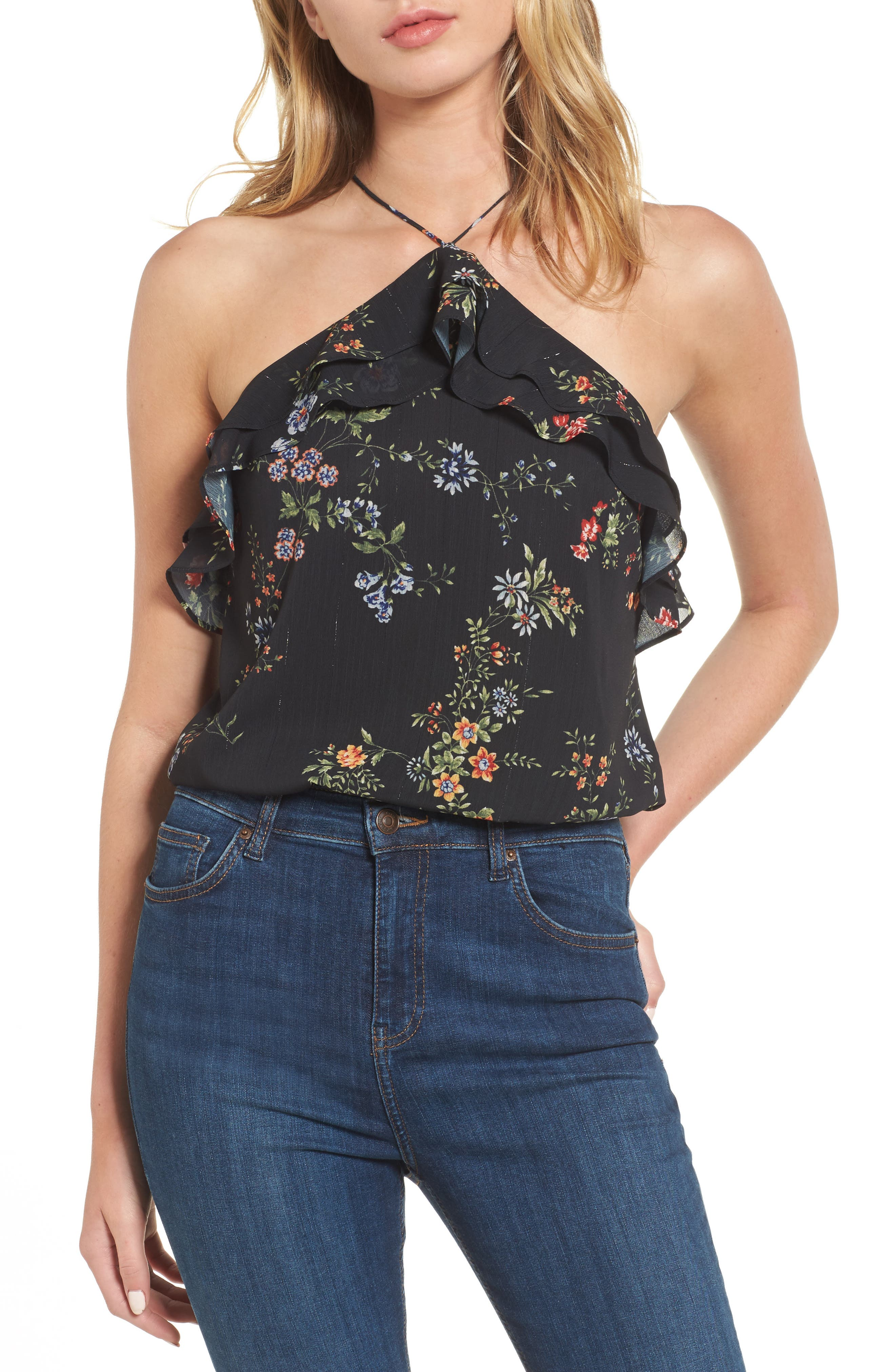 Goldie Ruffle Halter Top,                         Main,                         color, Black Floral