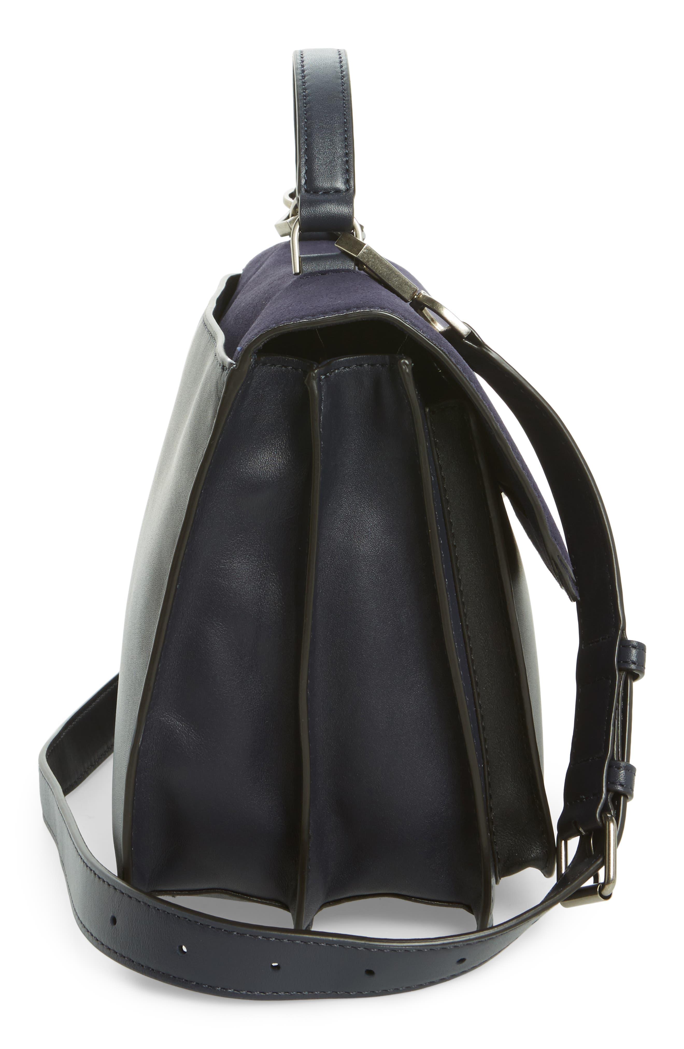 Top Handle Shoulder Bag,                             Alternate thumbnail 5, color,                             Black