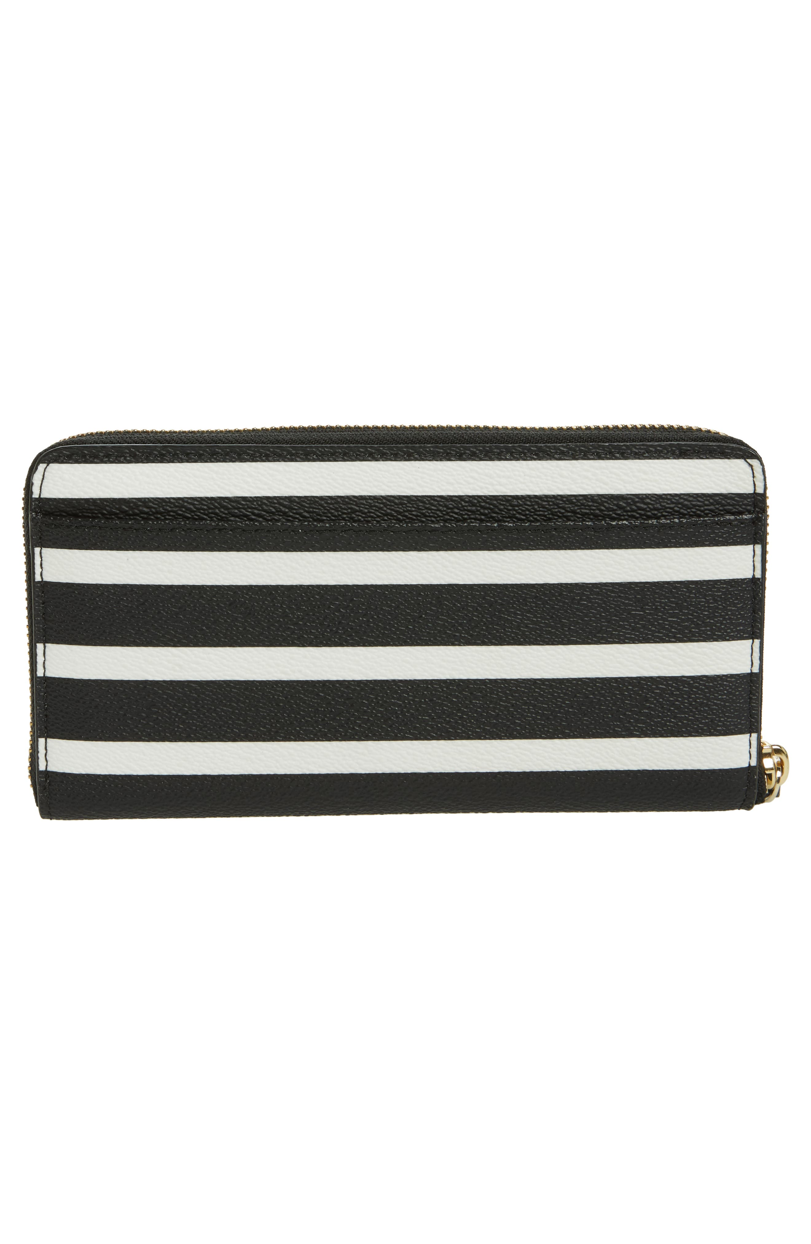 hyde lane - michele stripe wallet,                             Alternate thumbnail 3, color,                             Black/ Cream