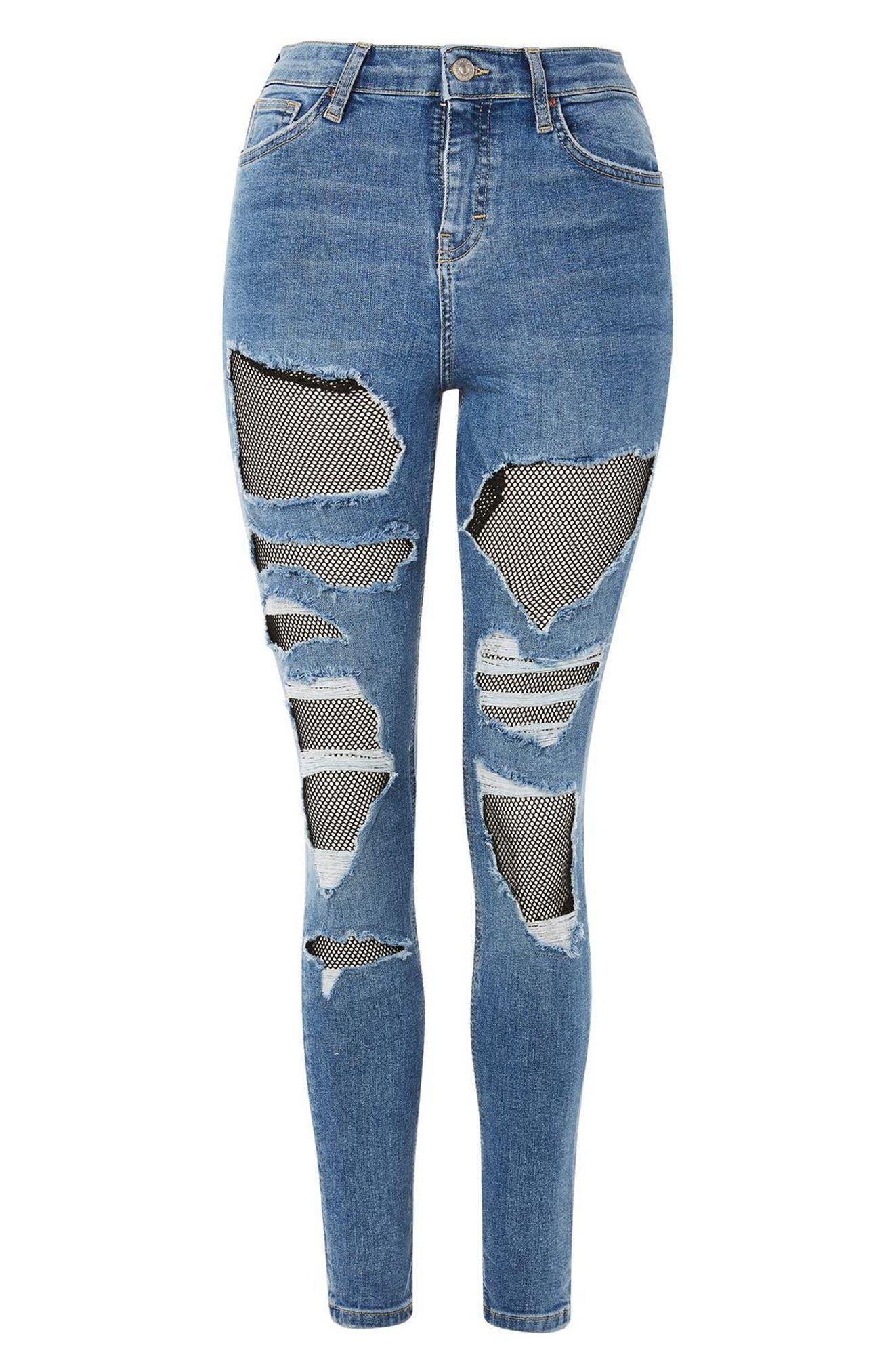 Jamie Fishnet Rip Skinny Jeans,                             Alternate thumbnail 4, color,                             Mid Denim