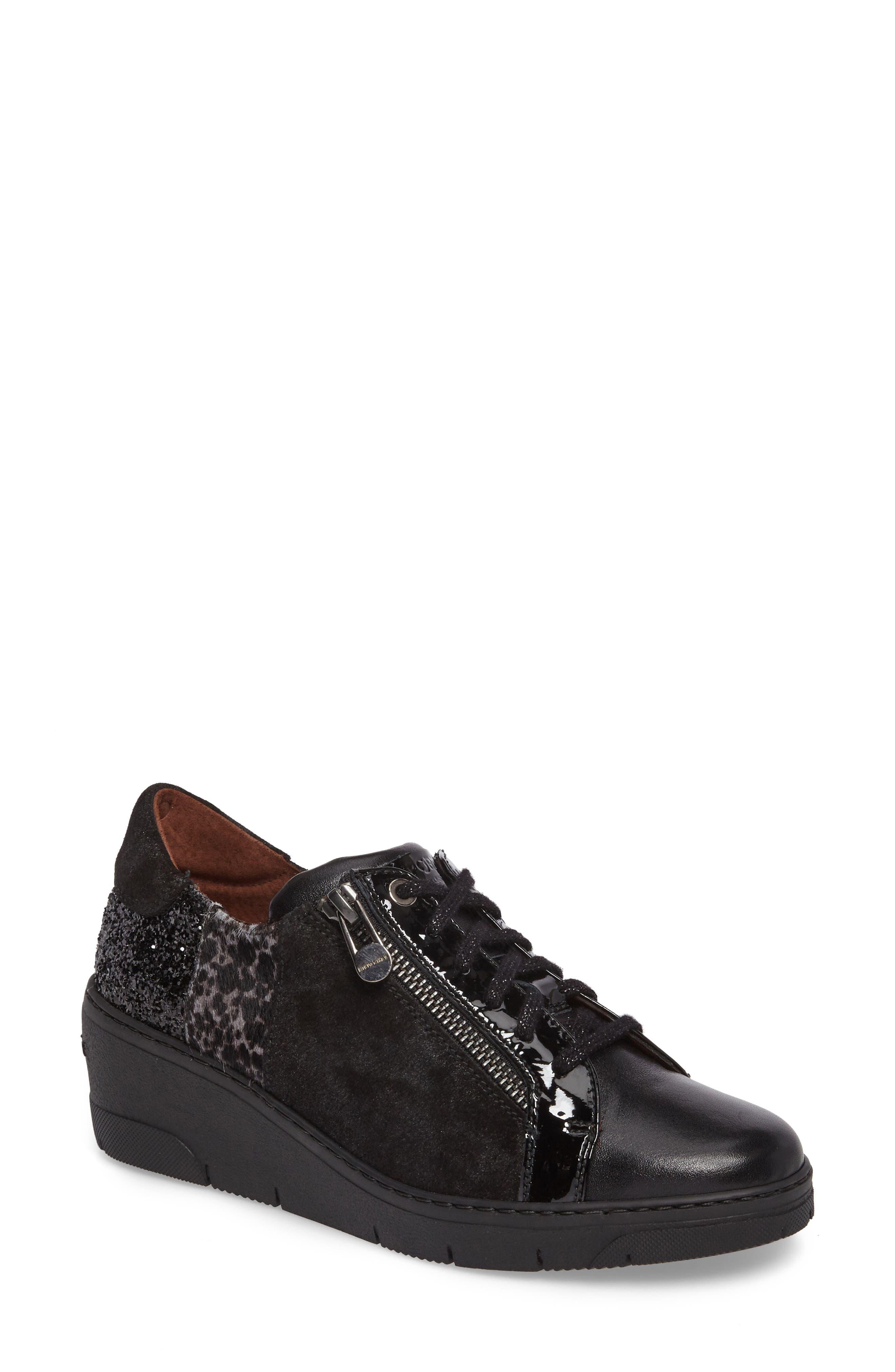 Sammi Sneaker,                             Main thumbnail 1, color,                             Black Leather