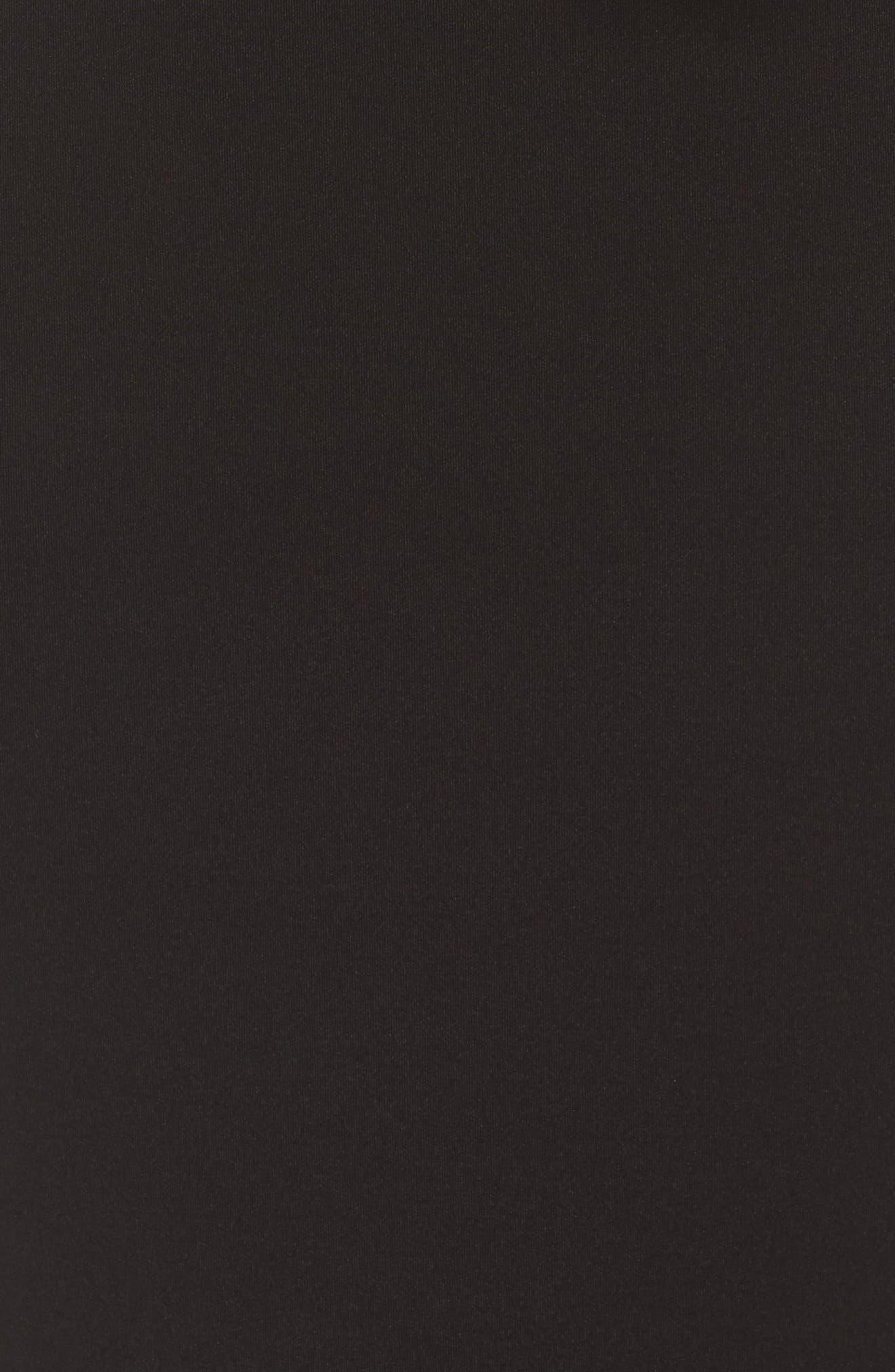 Cap Sleeve Mixed Media Peplum Gown,                             Alternate thumbnail 6, color,                             Black/ Blue