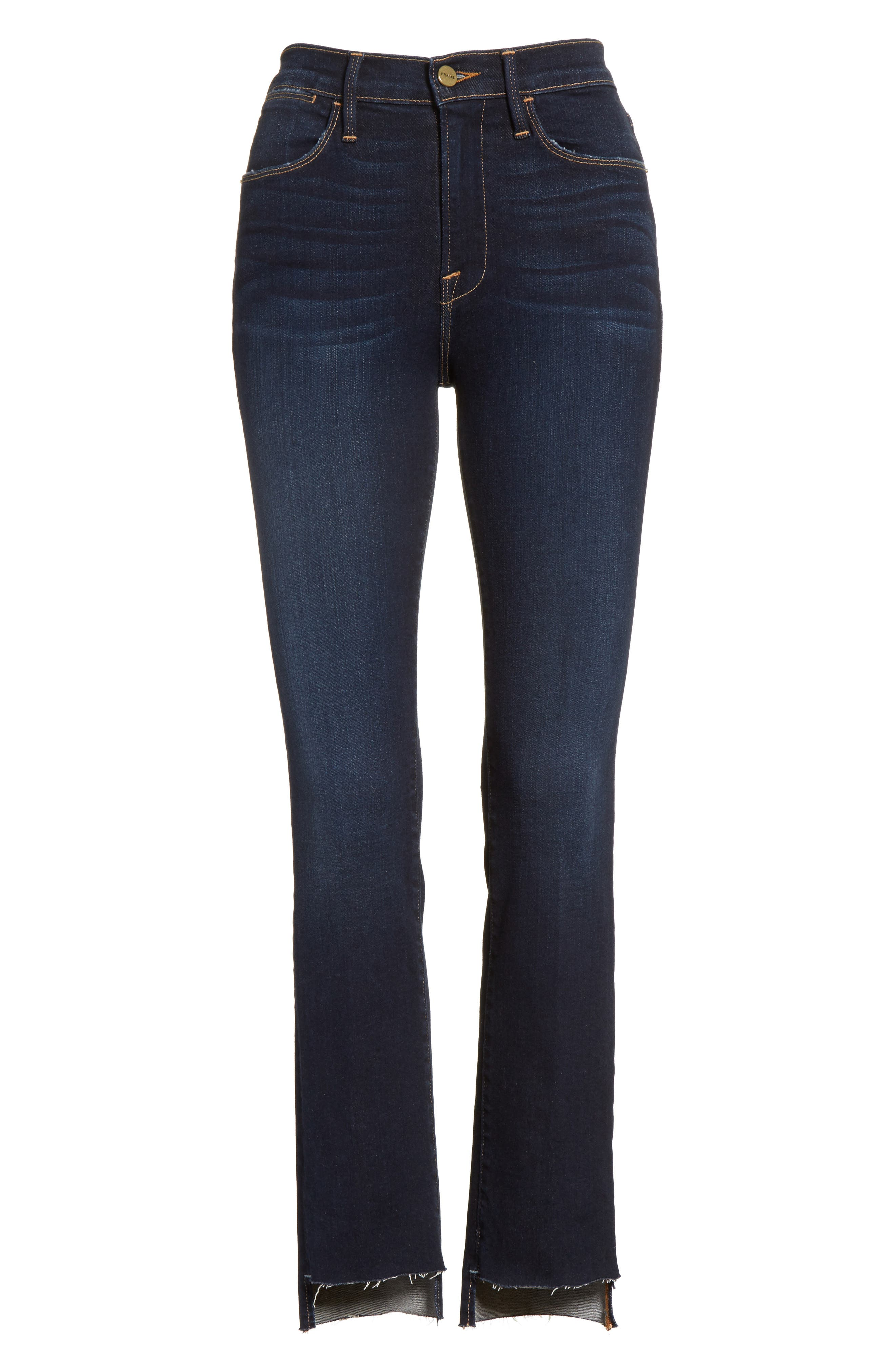 Le High Straight Raw Stagger Jeans,                             Alternate thumbnail 7, color,                             Cabana