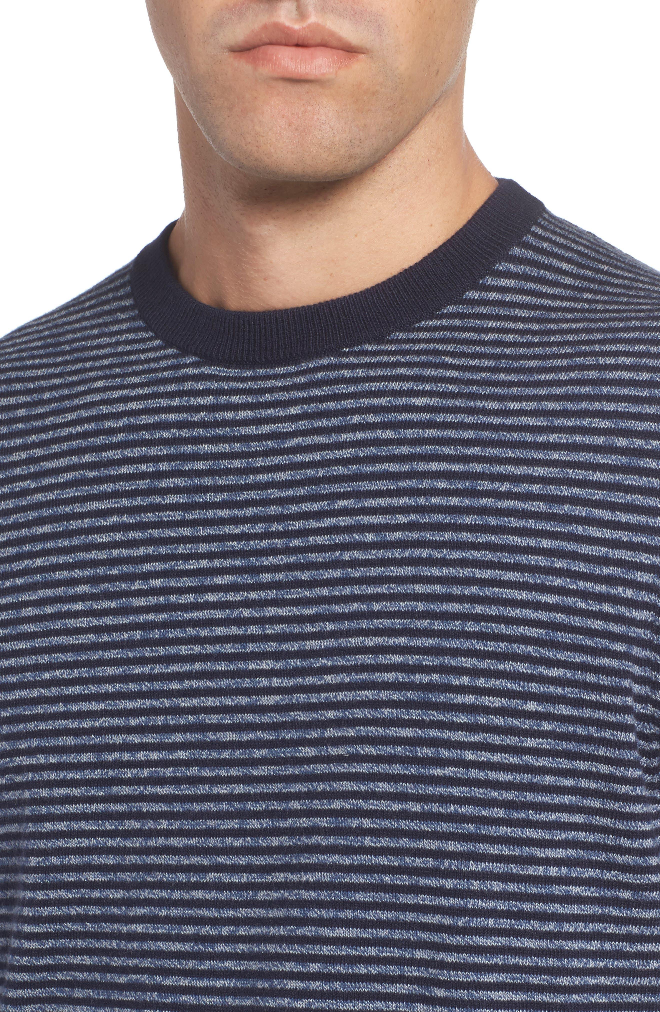 Stripe Cotton & Cashmere Crewneck Sweater,                             Alternate thumbnail 4, color,                             Navy Iris Jaspe Stripe