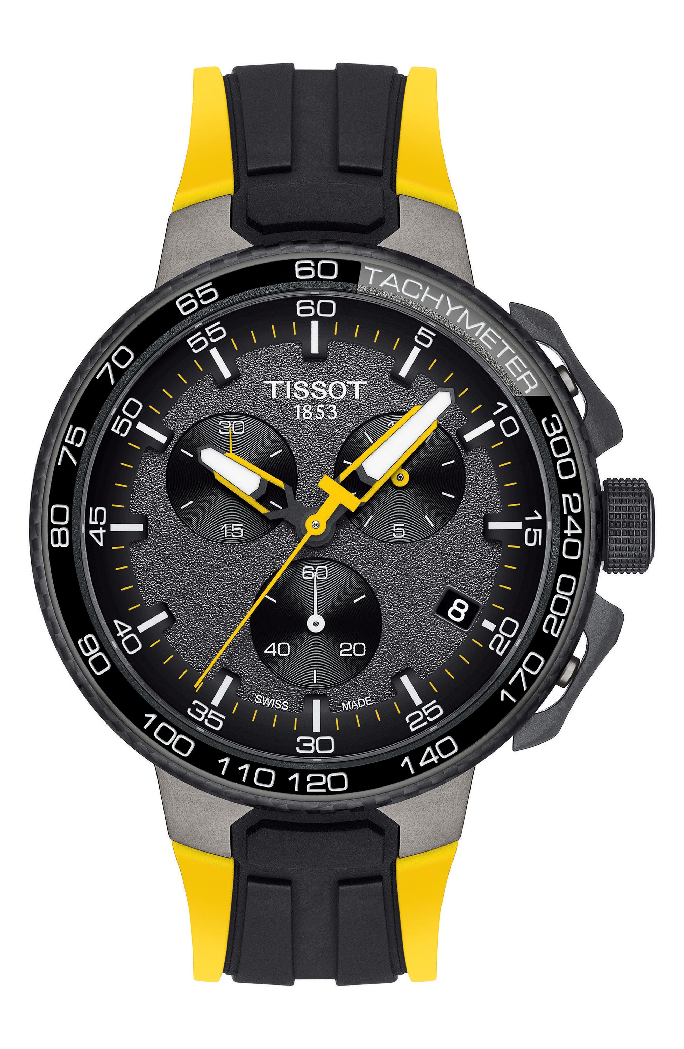 T-Race Tour de France Chronograph Silicone Strap Watch, 45mm,                         Main,                         color, Yellow/ Black