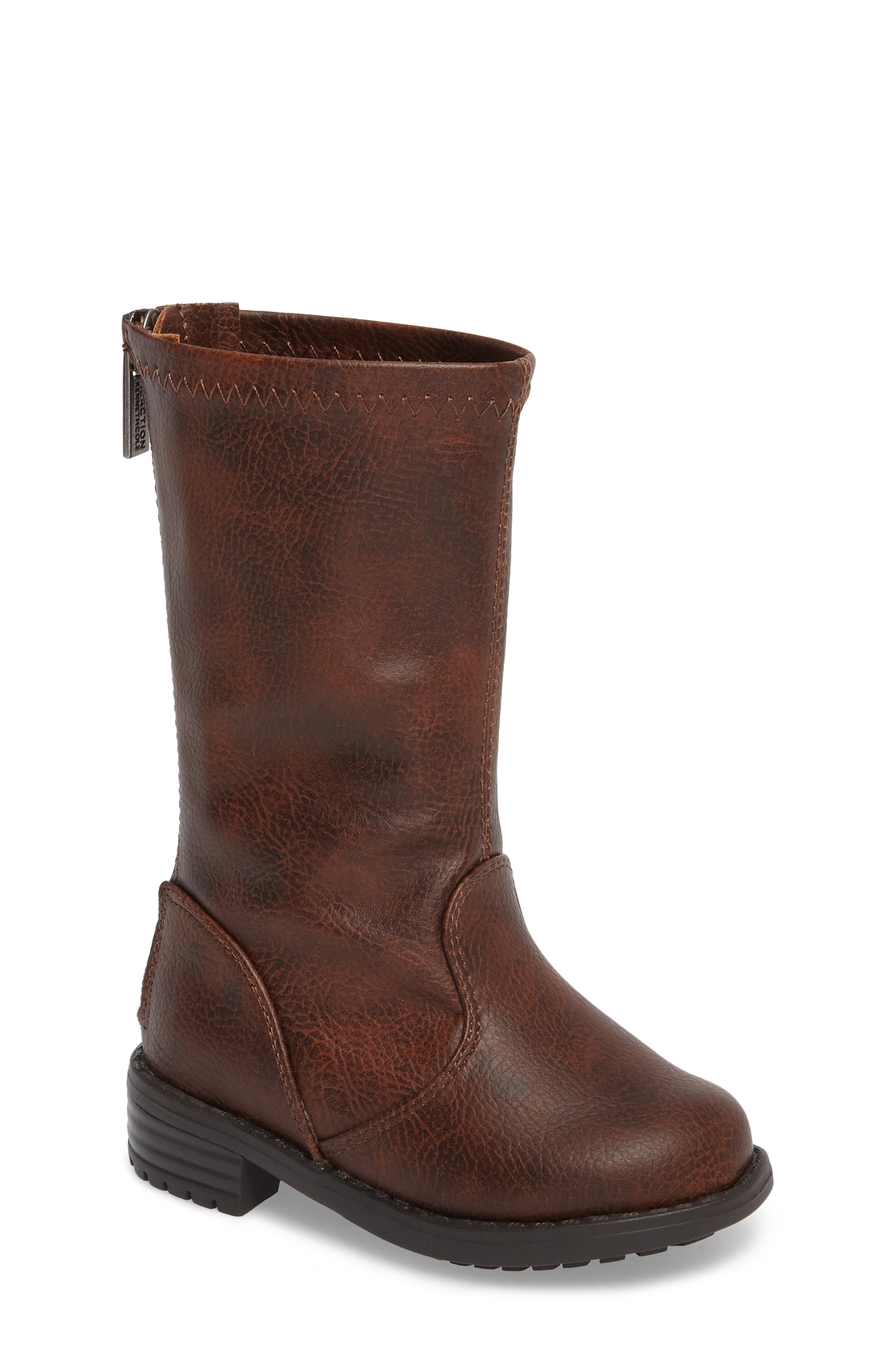 Autumn Stretch Boot,                             Main thumbnail 1, color,                             Distressed Brown Faux Leather