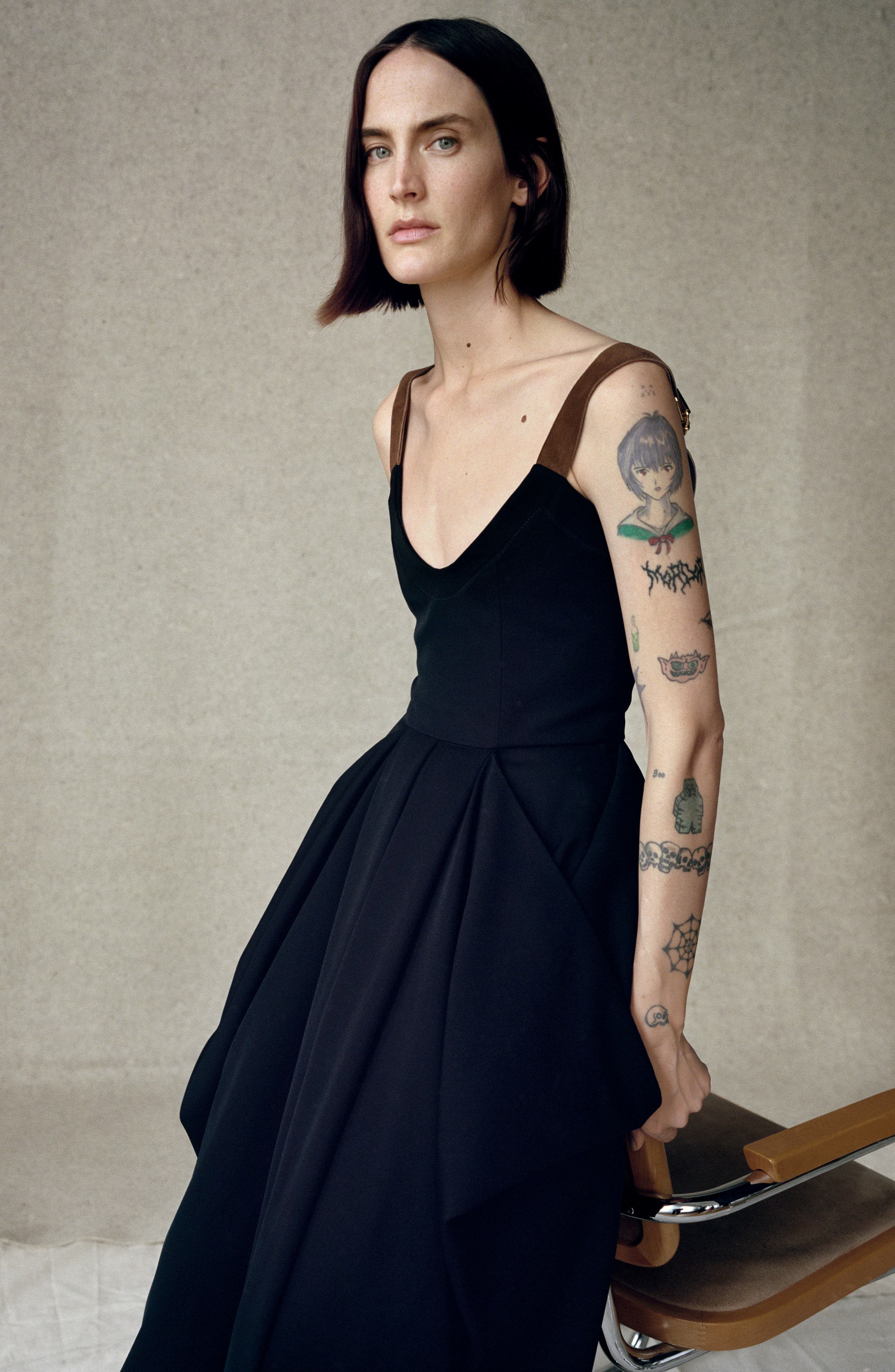 J.W.ANDERSON Drape Pocket Wool Dress,                             Alternate thumbnail 2, color,                             Black