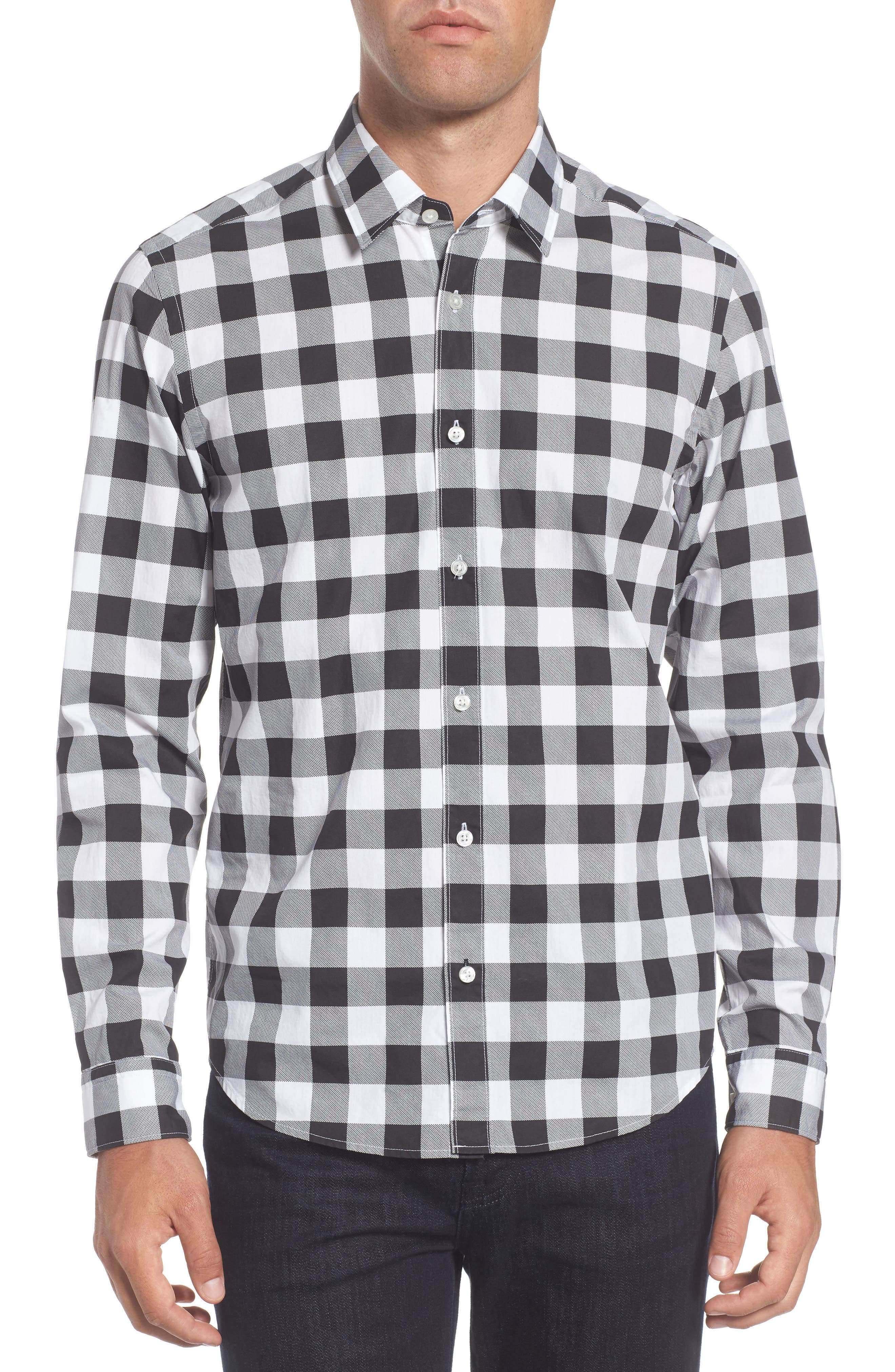 Lance Regular Fit Buffalo Plaid Sport Shirt,                             Main thumbnail 1, color,                             Black/ White