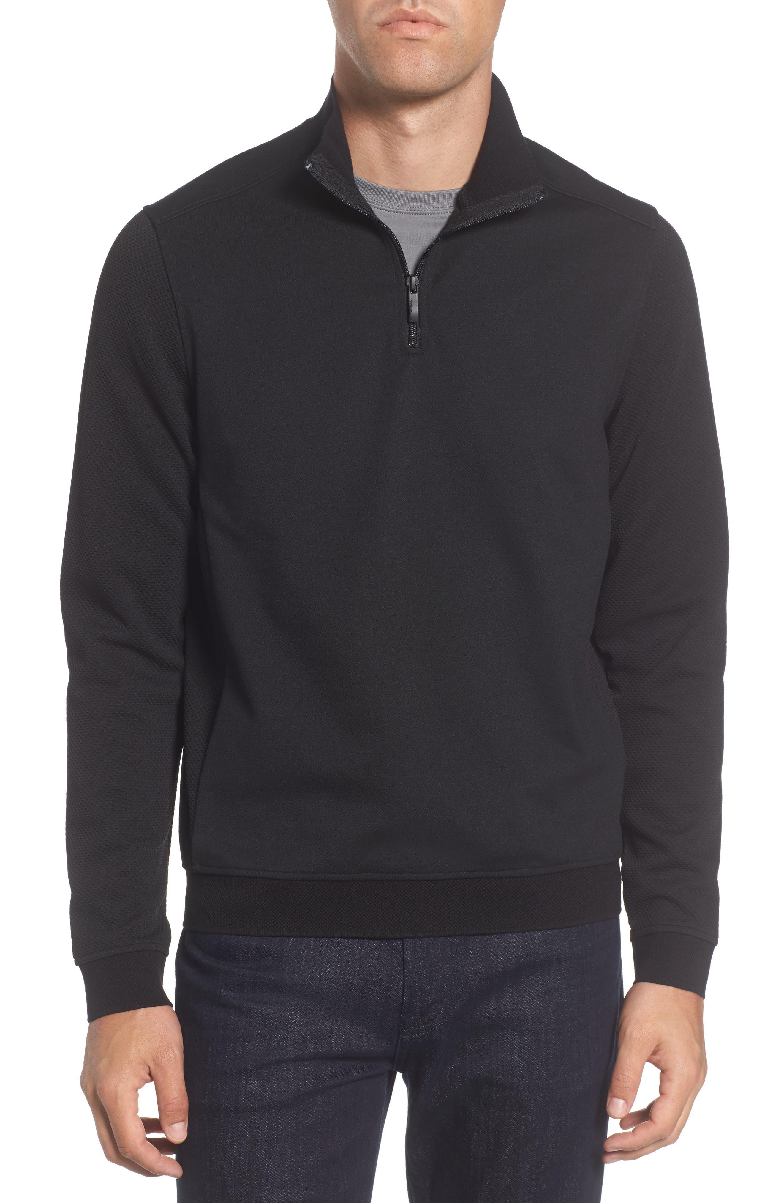 Slim Fit Mixed Media Track Jacket,                         Main,                         color, Black