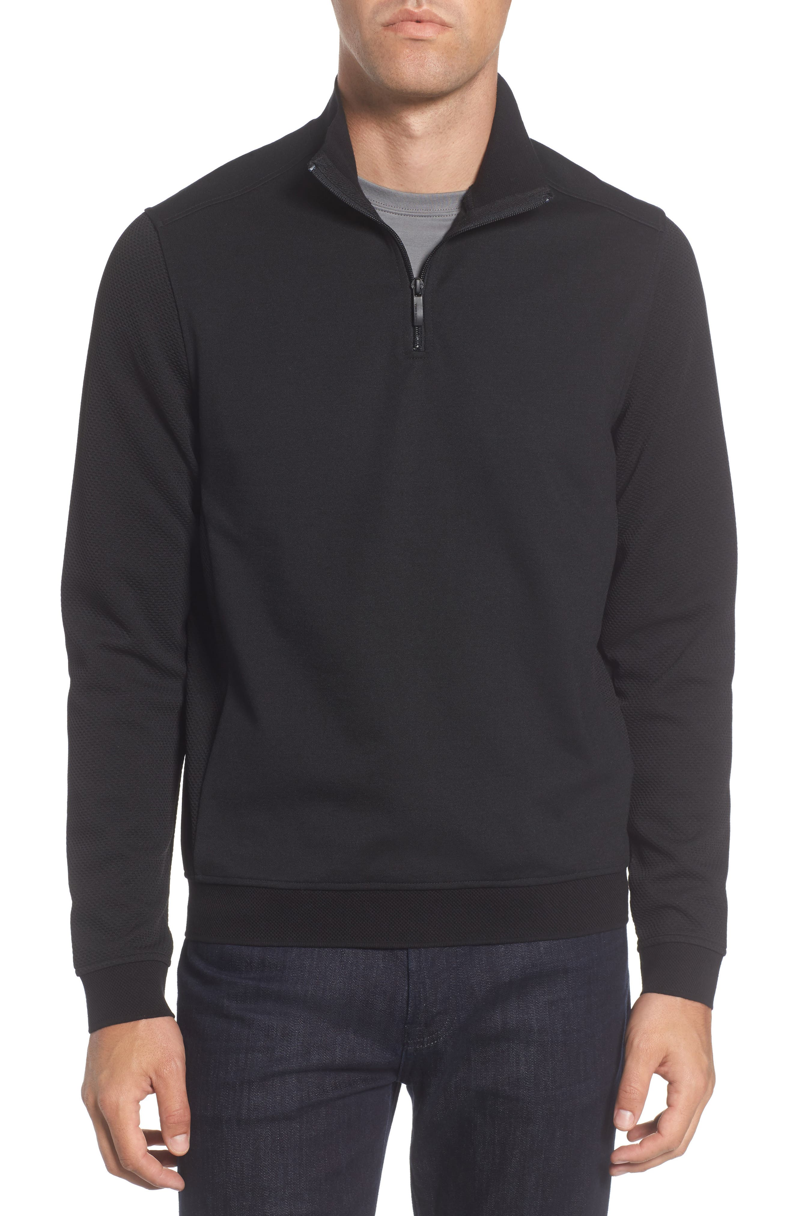 Vince Camuto Slim Fit Mixed Media Track Jacket
