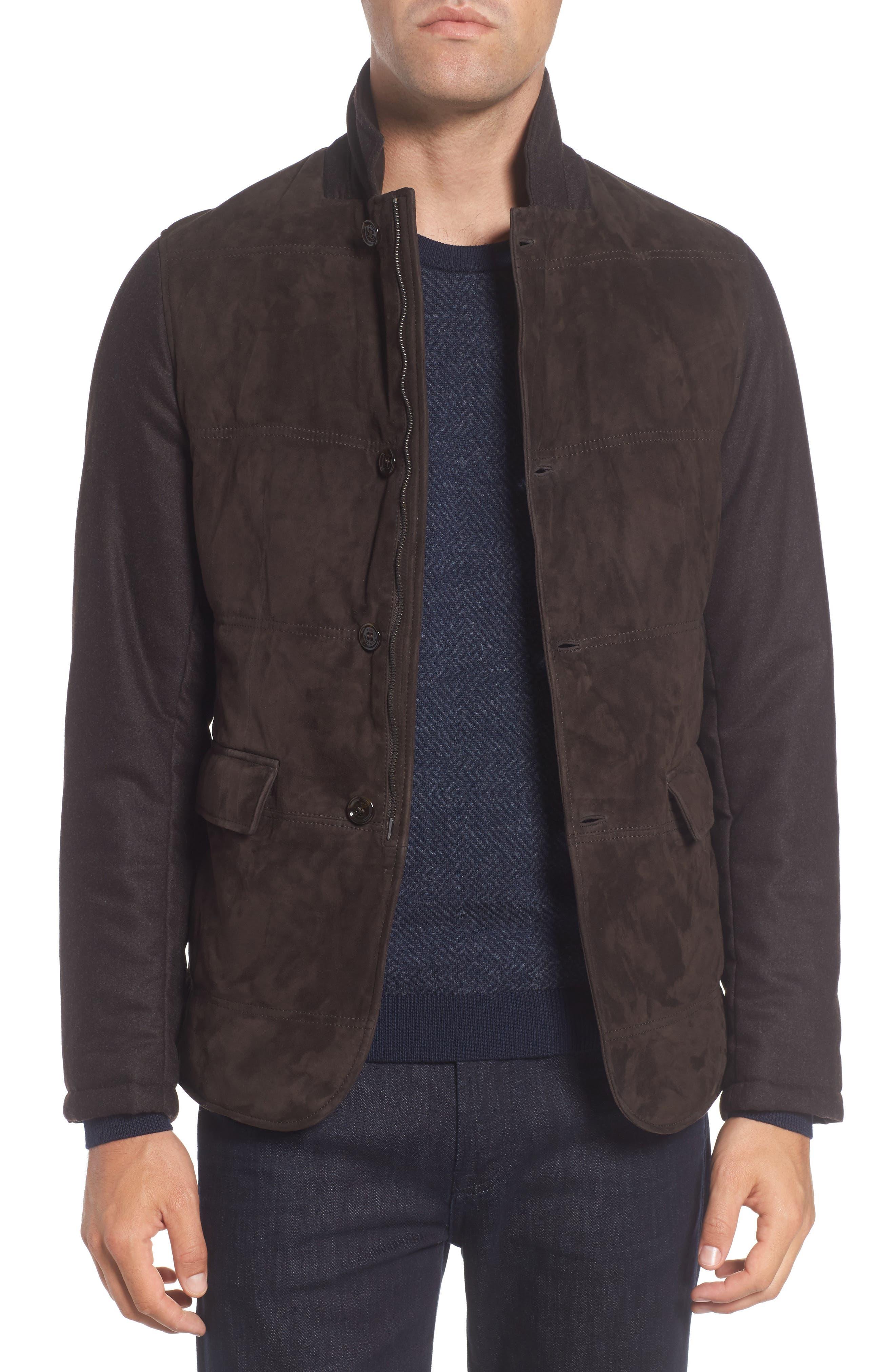 T-Cobas Slim Fit Mixed Media Jacket,                         Main,                         color, Brown