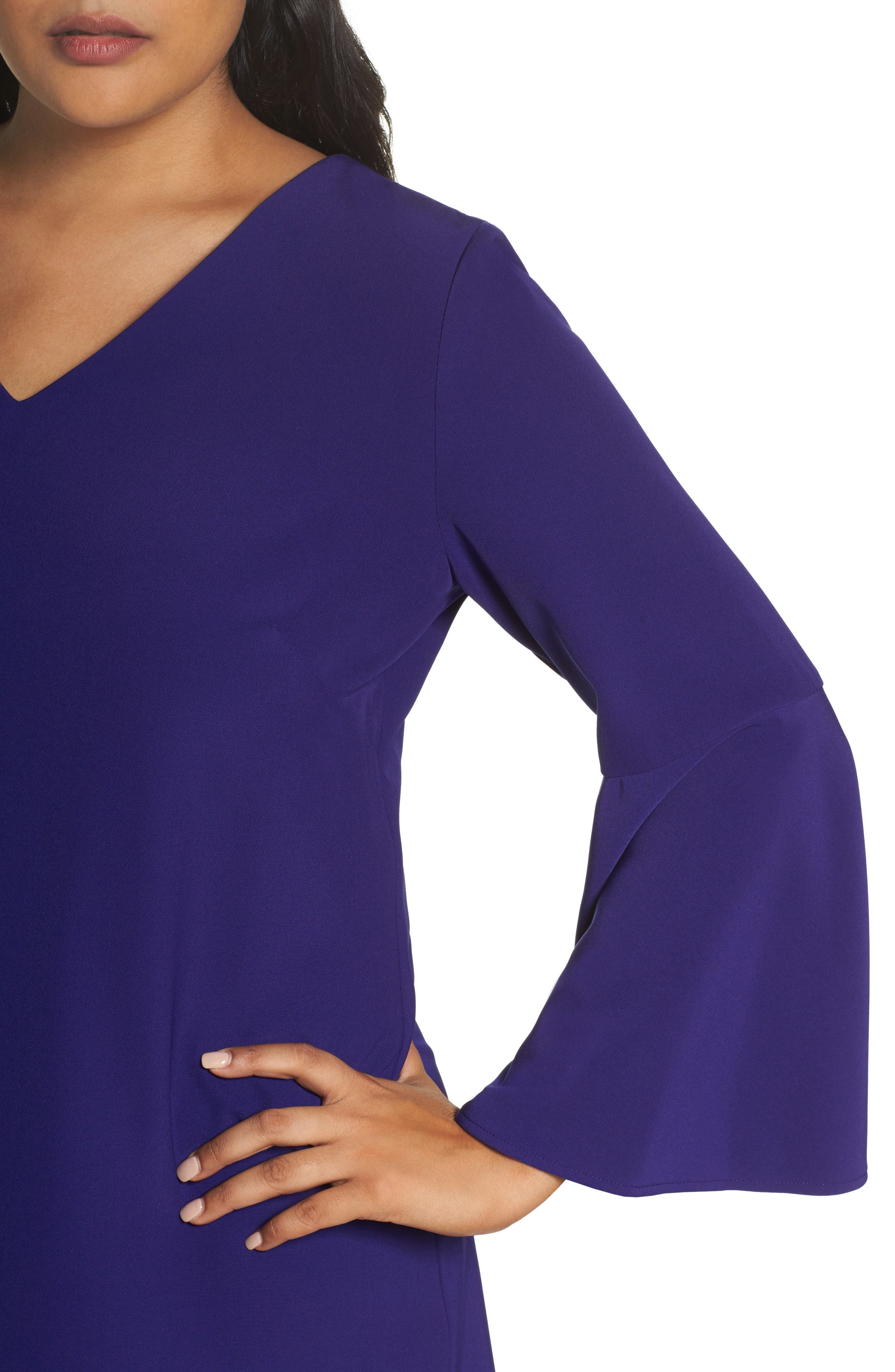Bell Sleeve Crepe Shift Dress,                             Alternate thumbnail 4, color,                             Violet