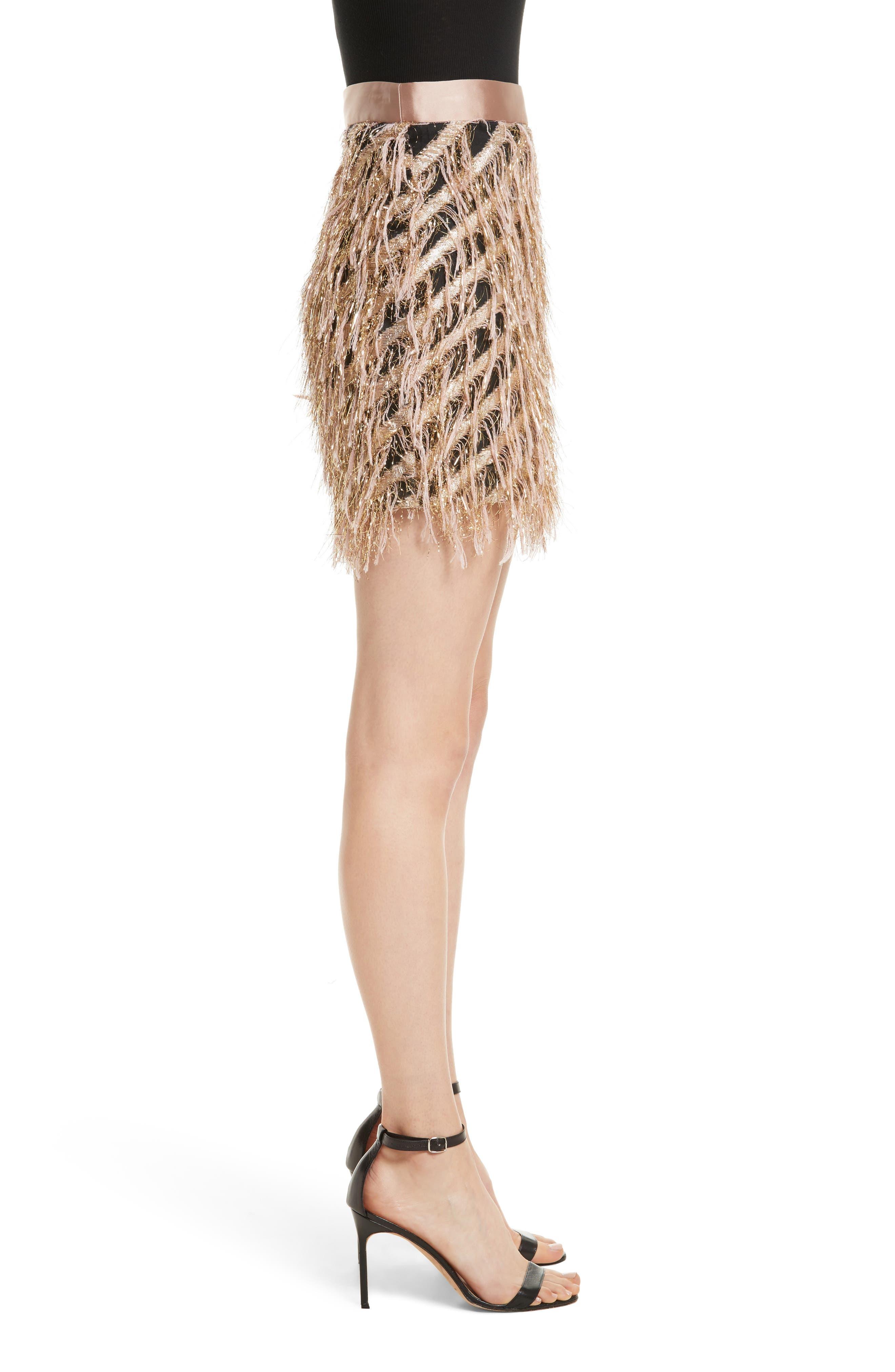 Fil Coupé Diagonal Stripe Miniskirt,                             Alternate thumbnail 3, color,                             Blush