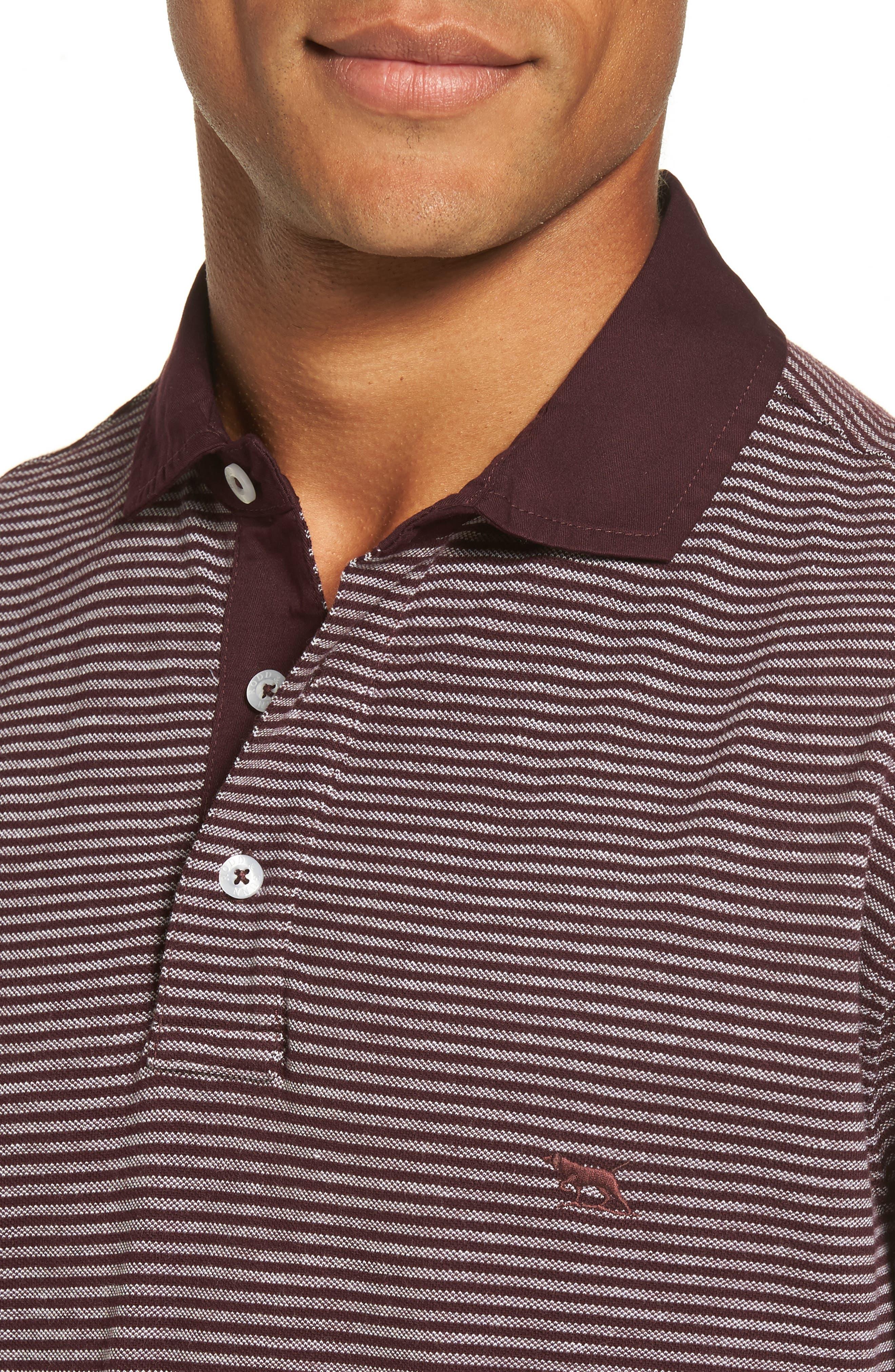 Lendenfield Sports Fit Stripe Piqué Polo,                             Alternate thumbnail 4, color,                             Pinot