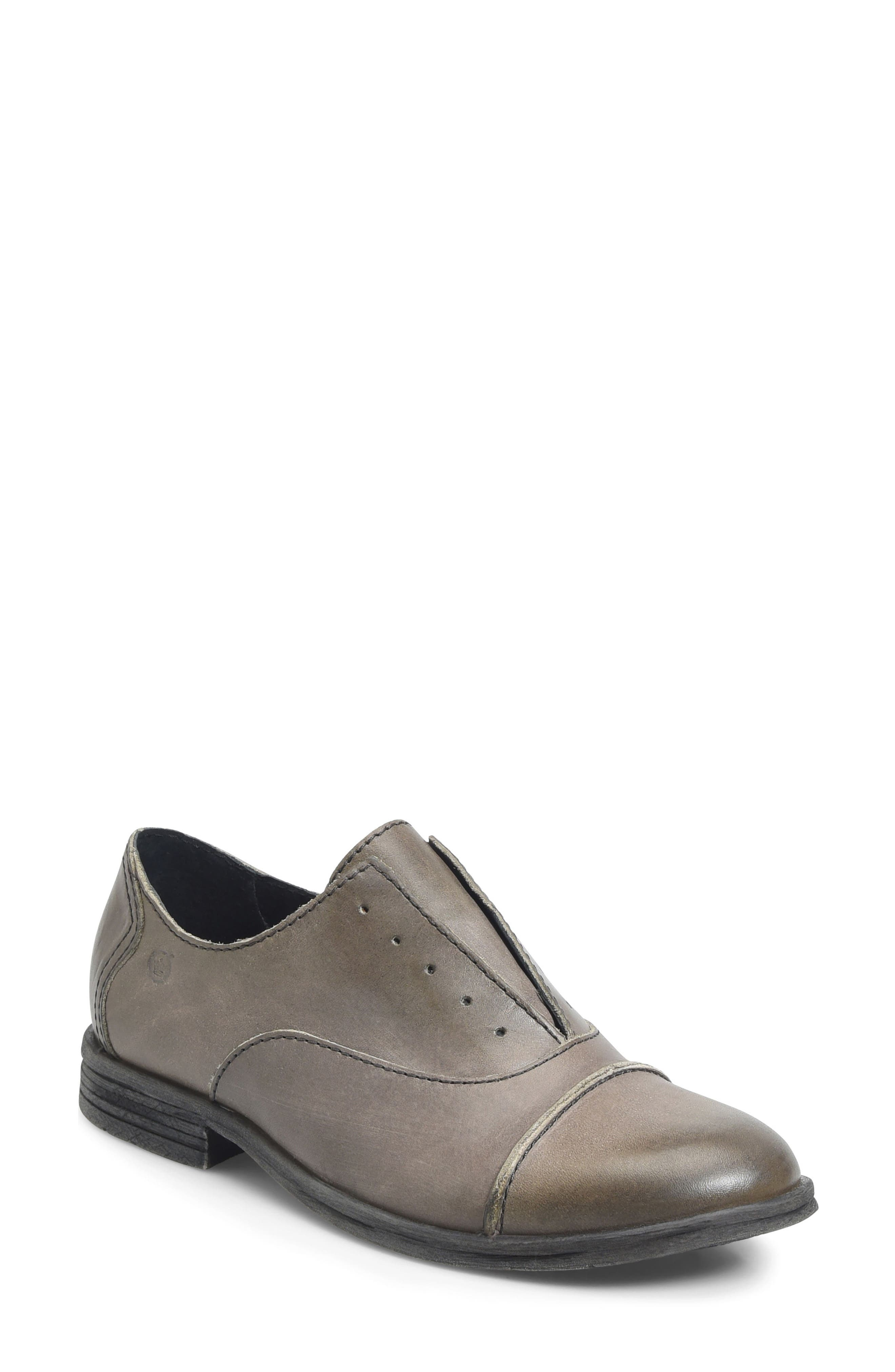 Forato Slip-On Oxford,                             Main thumbnail 1, color,                             Light Grey Leather