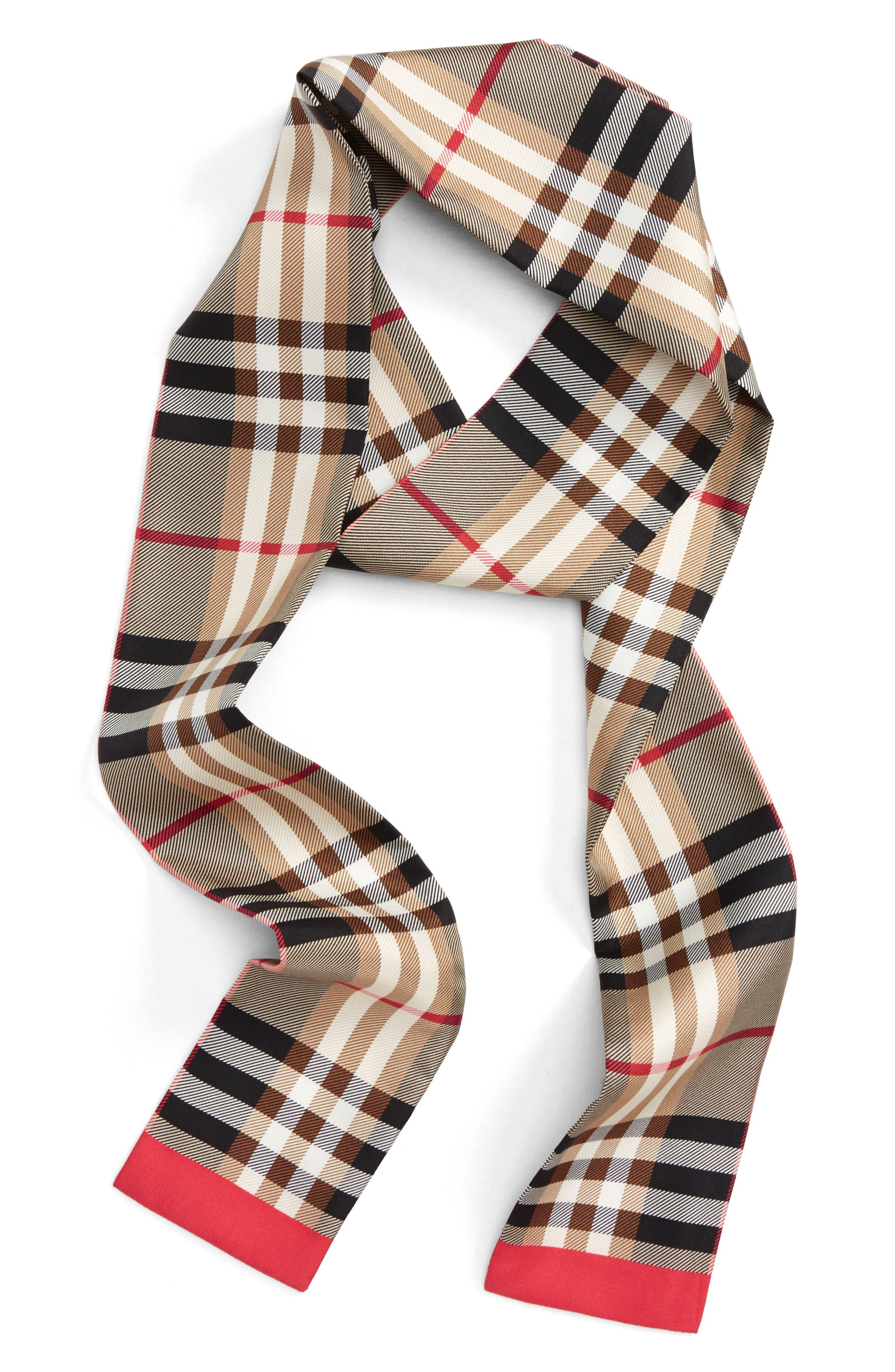 Castleford Check Silk Skinny Scarf,                             Main thumbnail 1, color,                             Camel