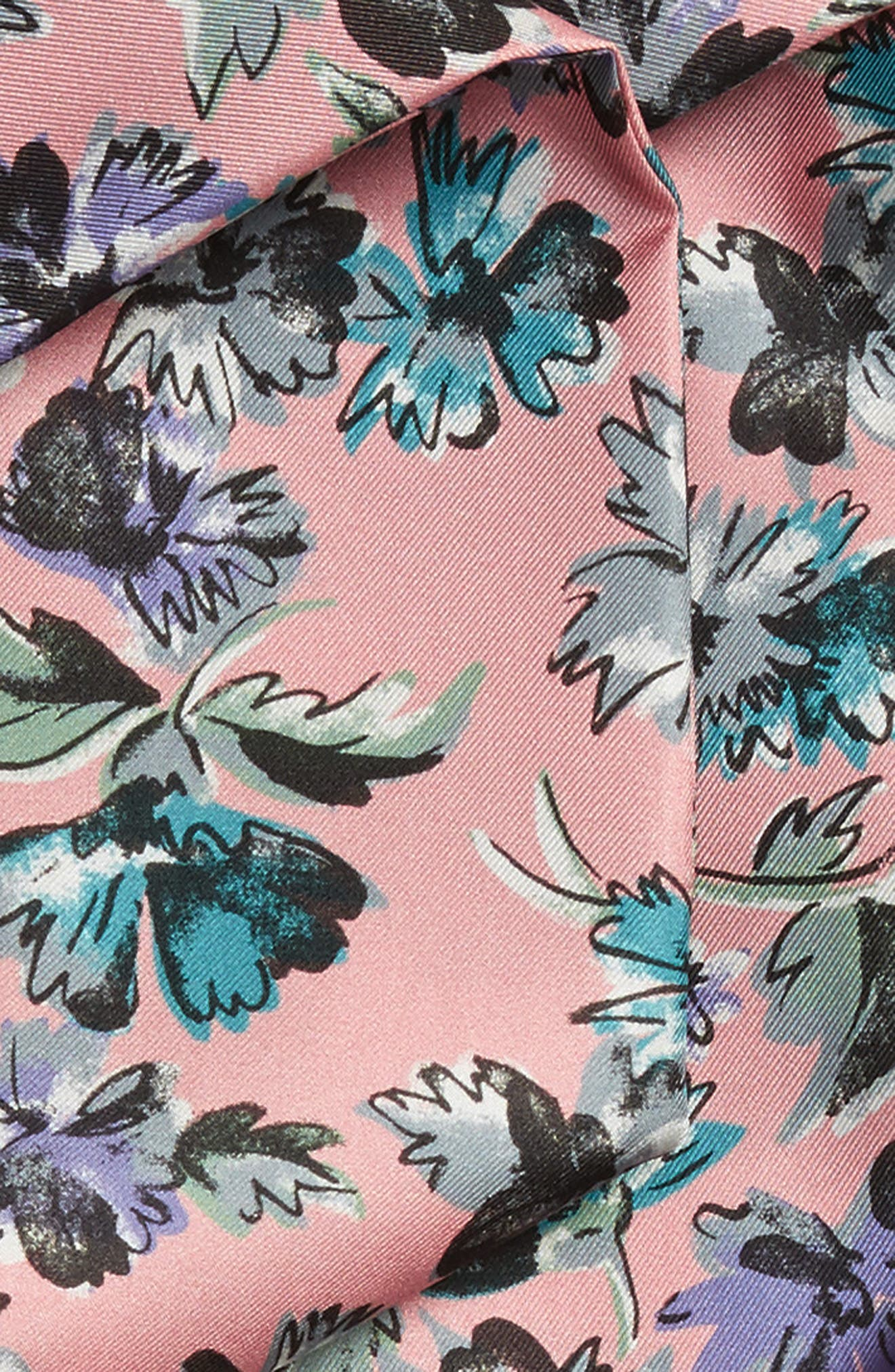 Scatter Floral Silk Skinny Scarf,                             Alternate thumbnail 3, color,                             Rose Pink