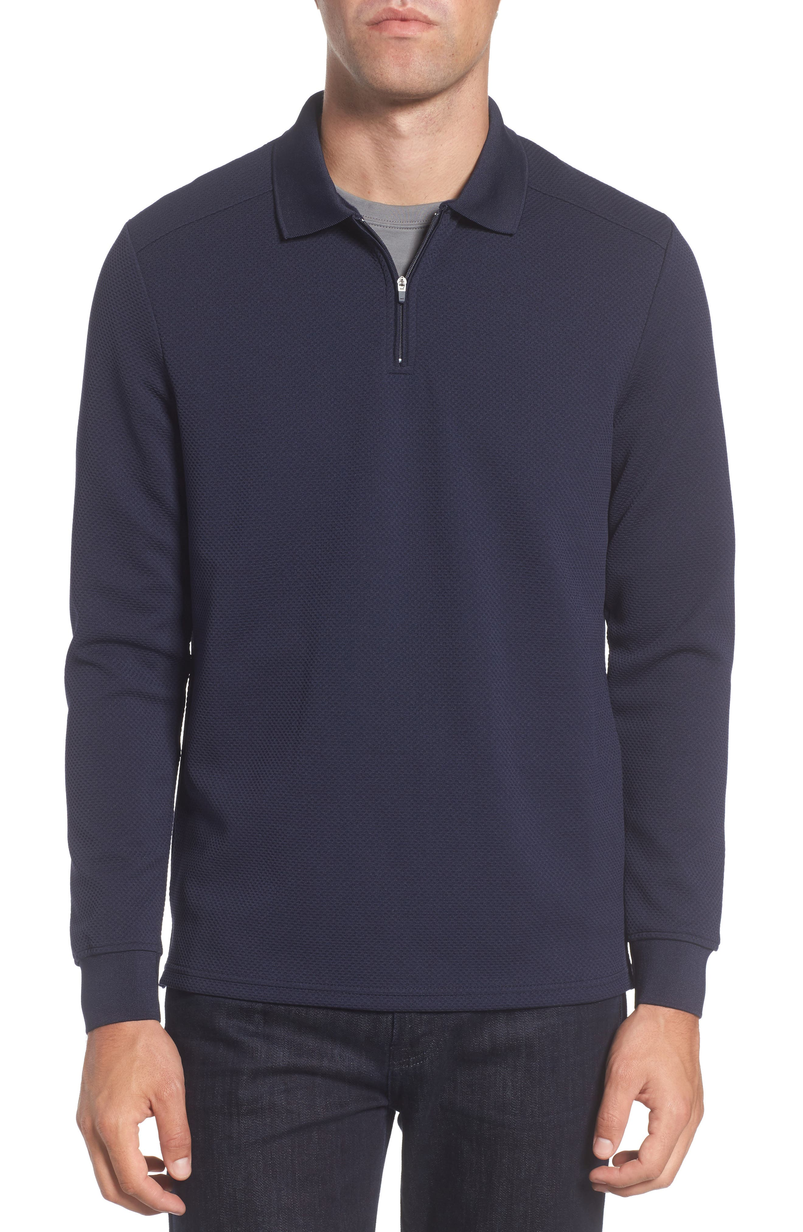 Main Image - Vince Camuto Slim Fit Quarter Zip Mesh Polo