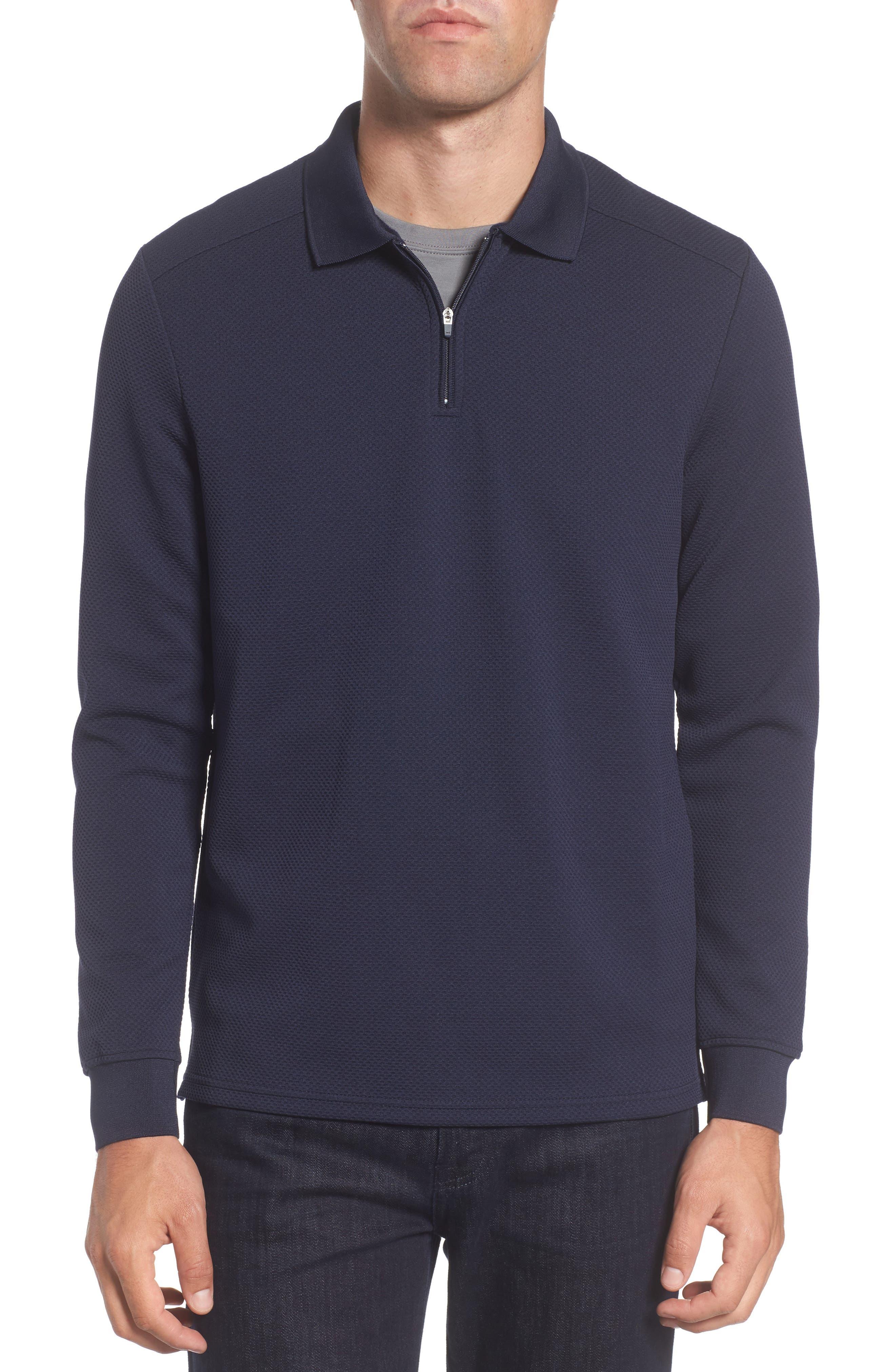 Slim Fit Quarter Zip Mesh Polo,                         Main,                         color, Navy