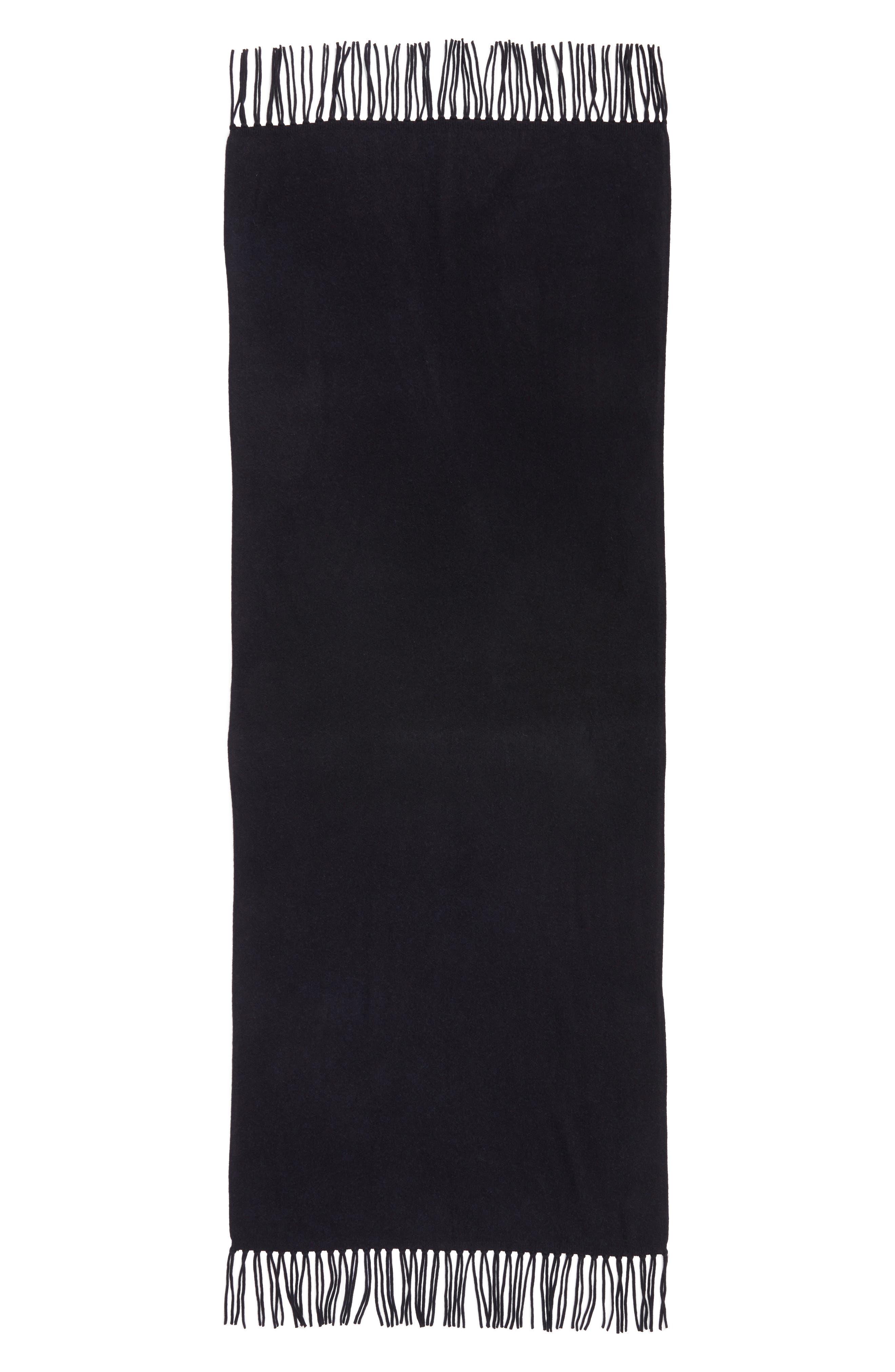 Collection Fringe Cashmere Wrap,                             Alternate thumbnail 5, color,                             Black