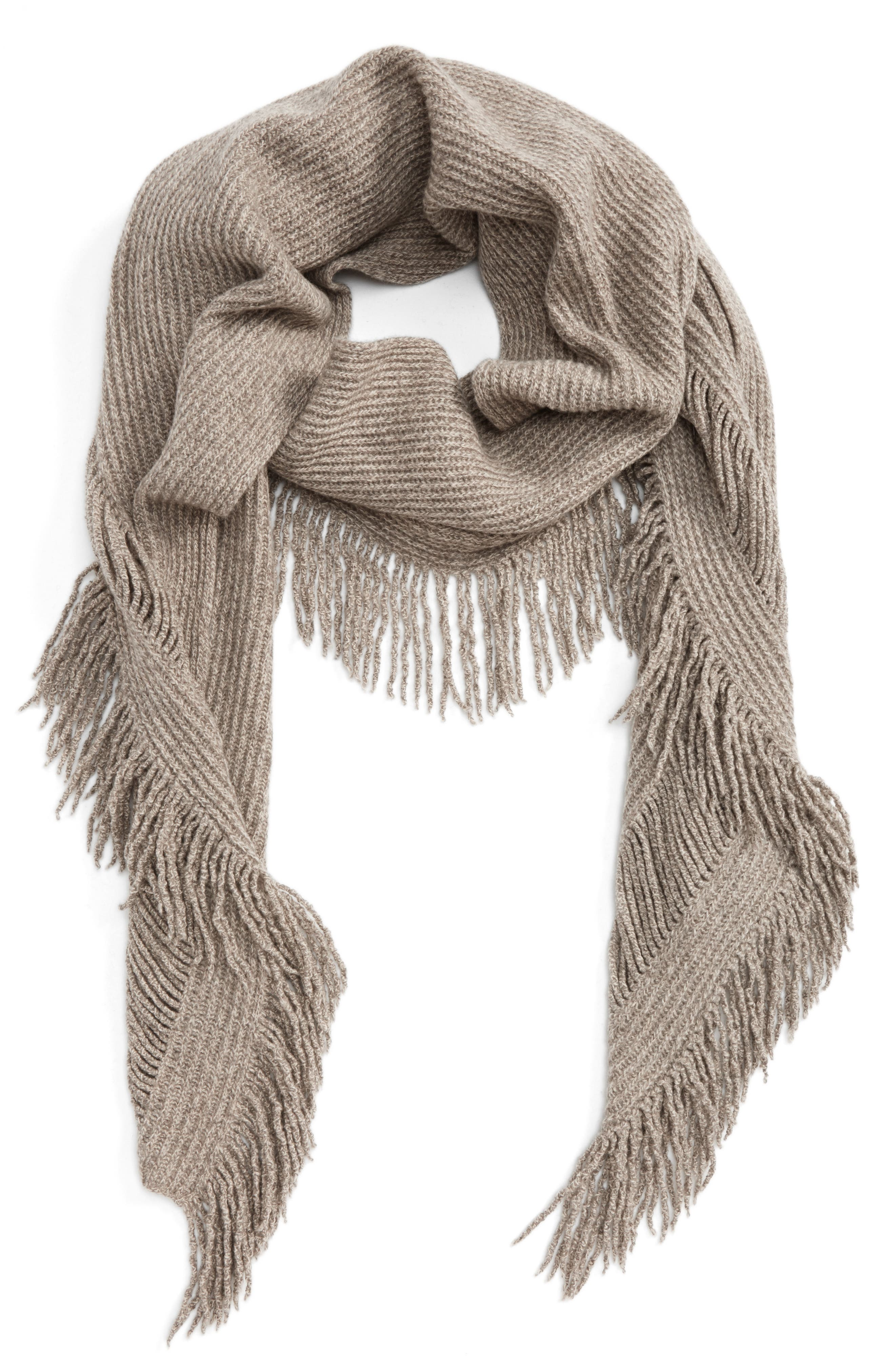 Fringe Cashmere & Wool Scarf,                         Main,                         color, Oatmeal Mix