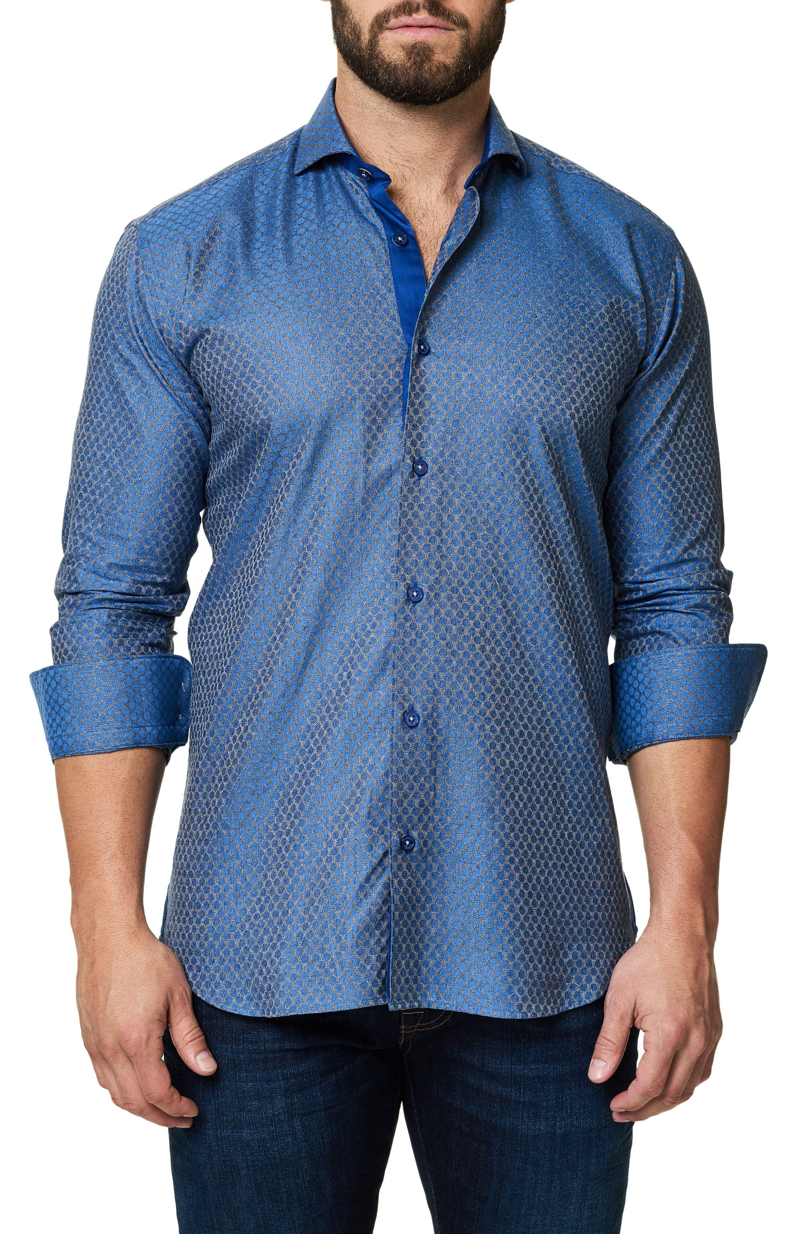 Trim Fit Dot Print Sport Shirt,                         Main,                         color, Blue