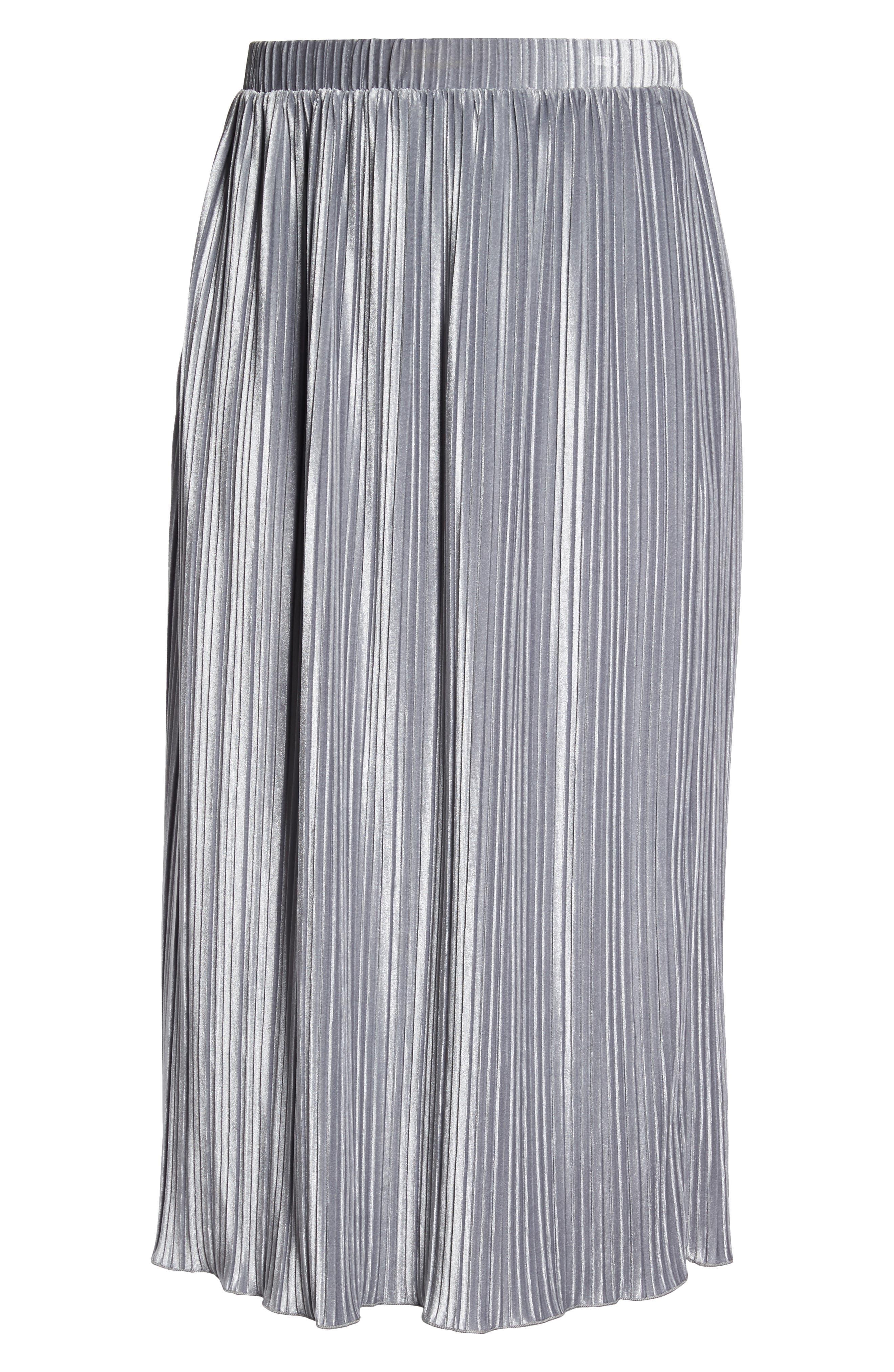 Pleat Velour Midi Skirt,                             Alternate thumbnail 7, color,                             Grey