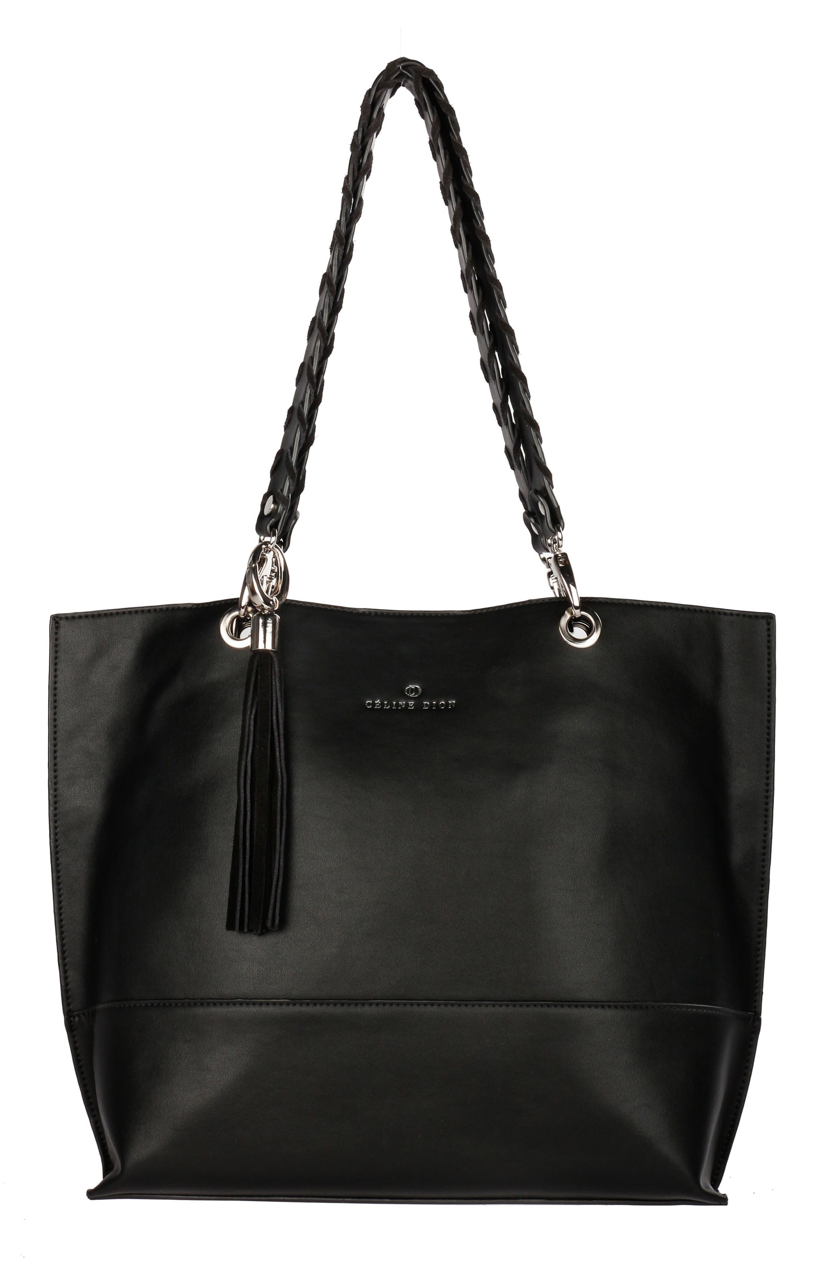 Céline Dion Espressivo Faux Leather Tote,                         Main,                         color, Black