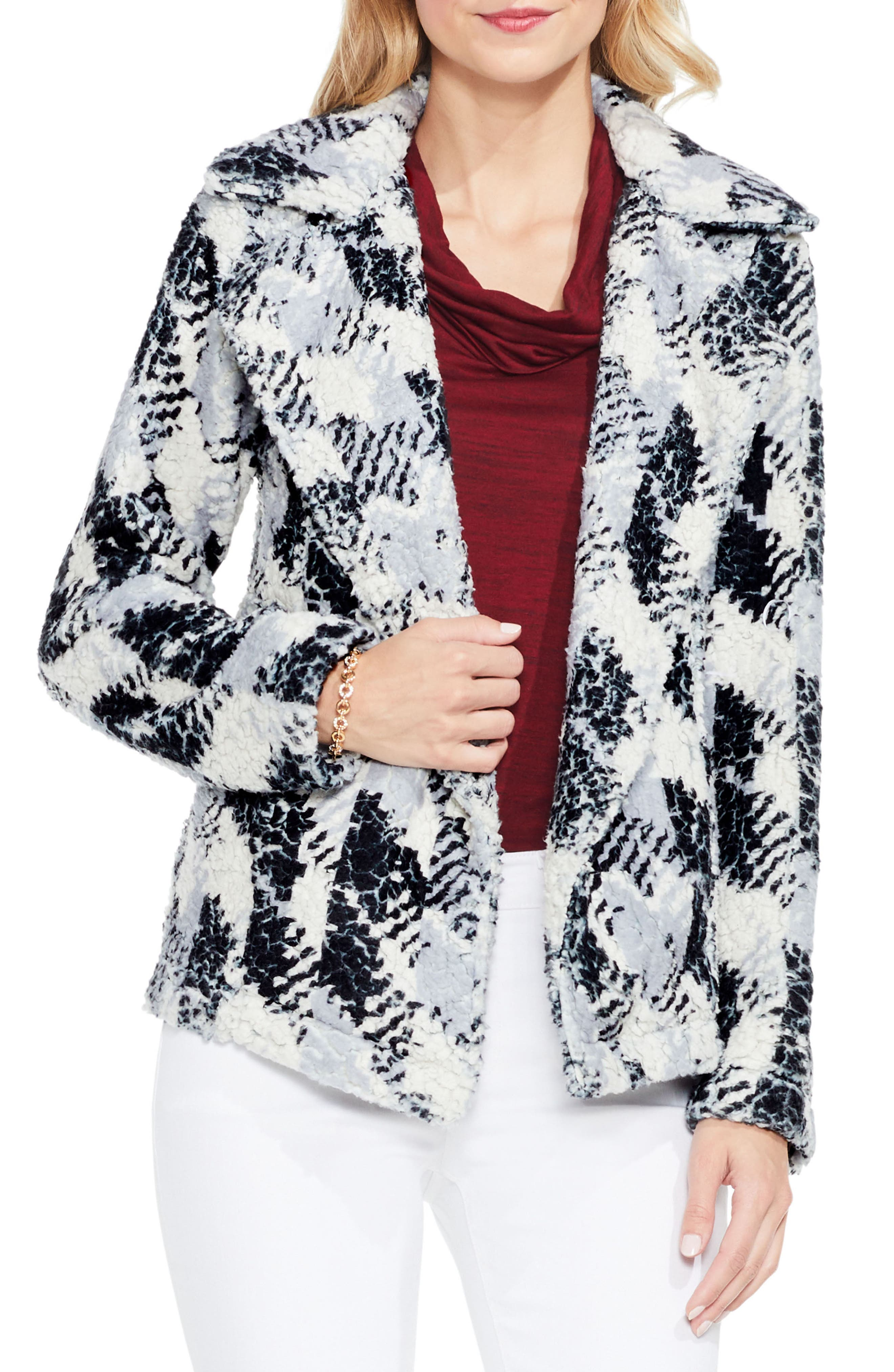 Two by Vince Camuto Broken Houndstooth Faux Fur Coat