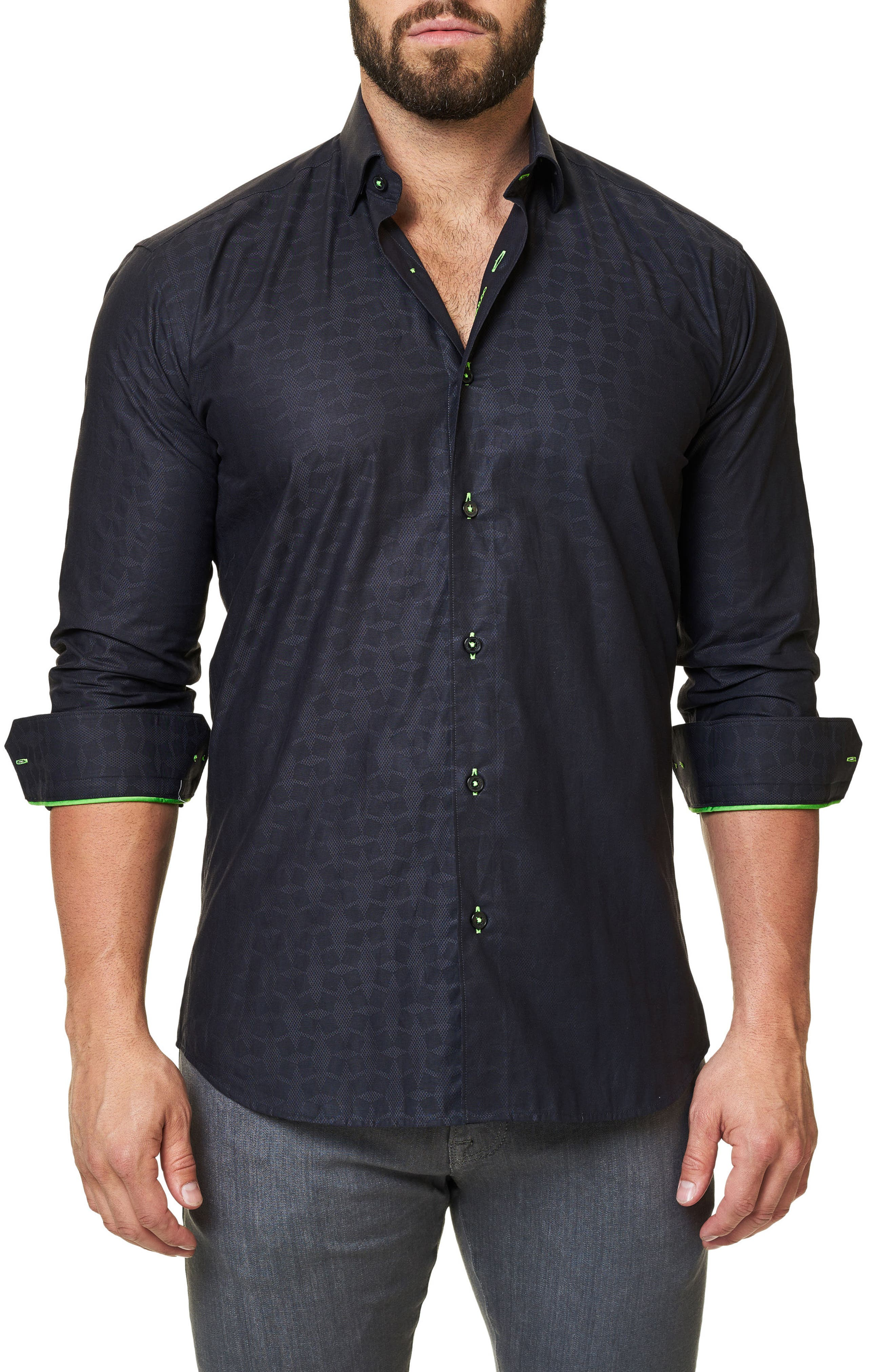 Alternate Image 1 Selected - Maceoo Trim Fit Print Sport Shirt