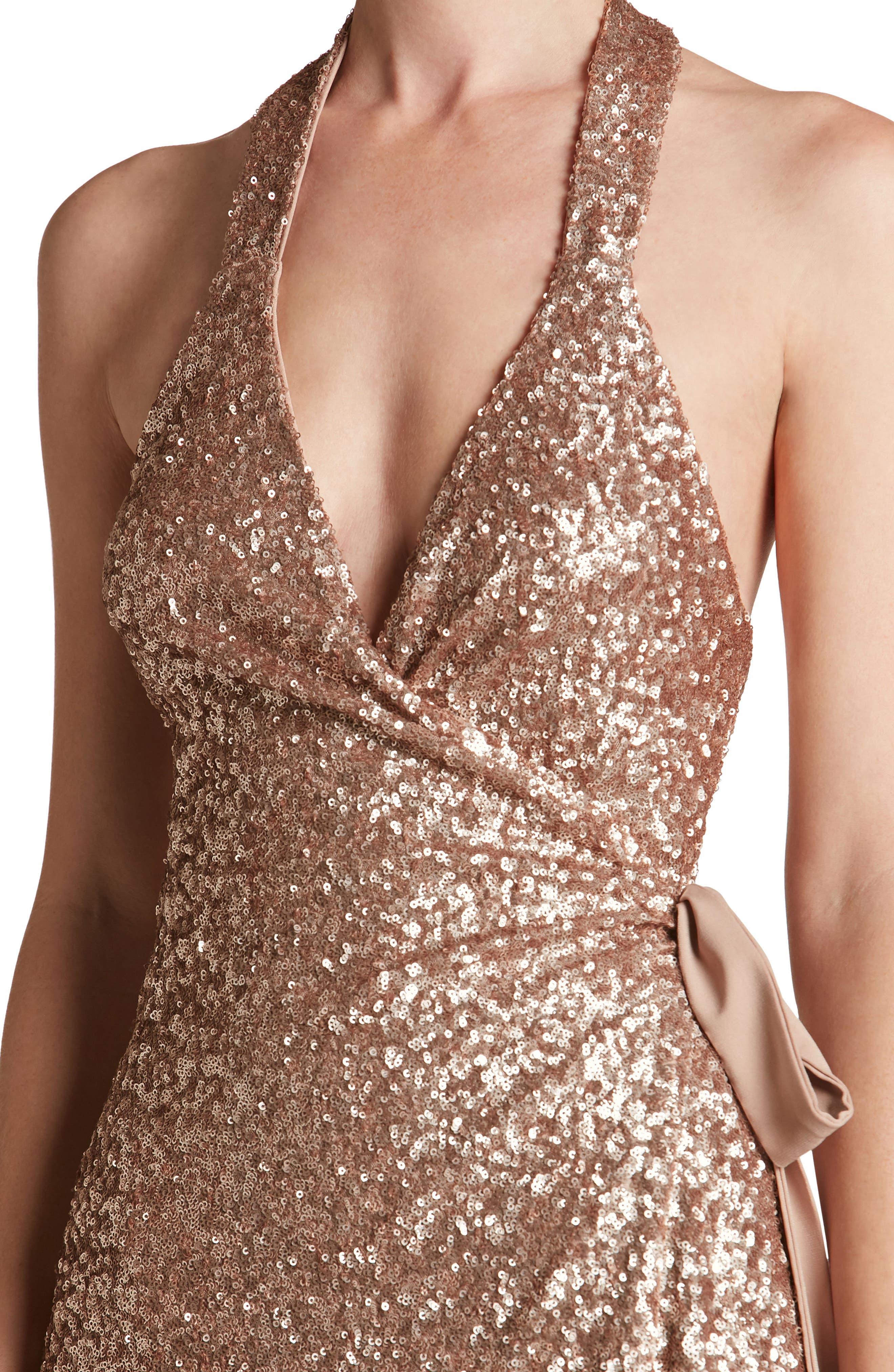 Alternate Image 4  - Dress the Population Danielle Sequin Wrap Mini Dress