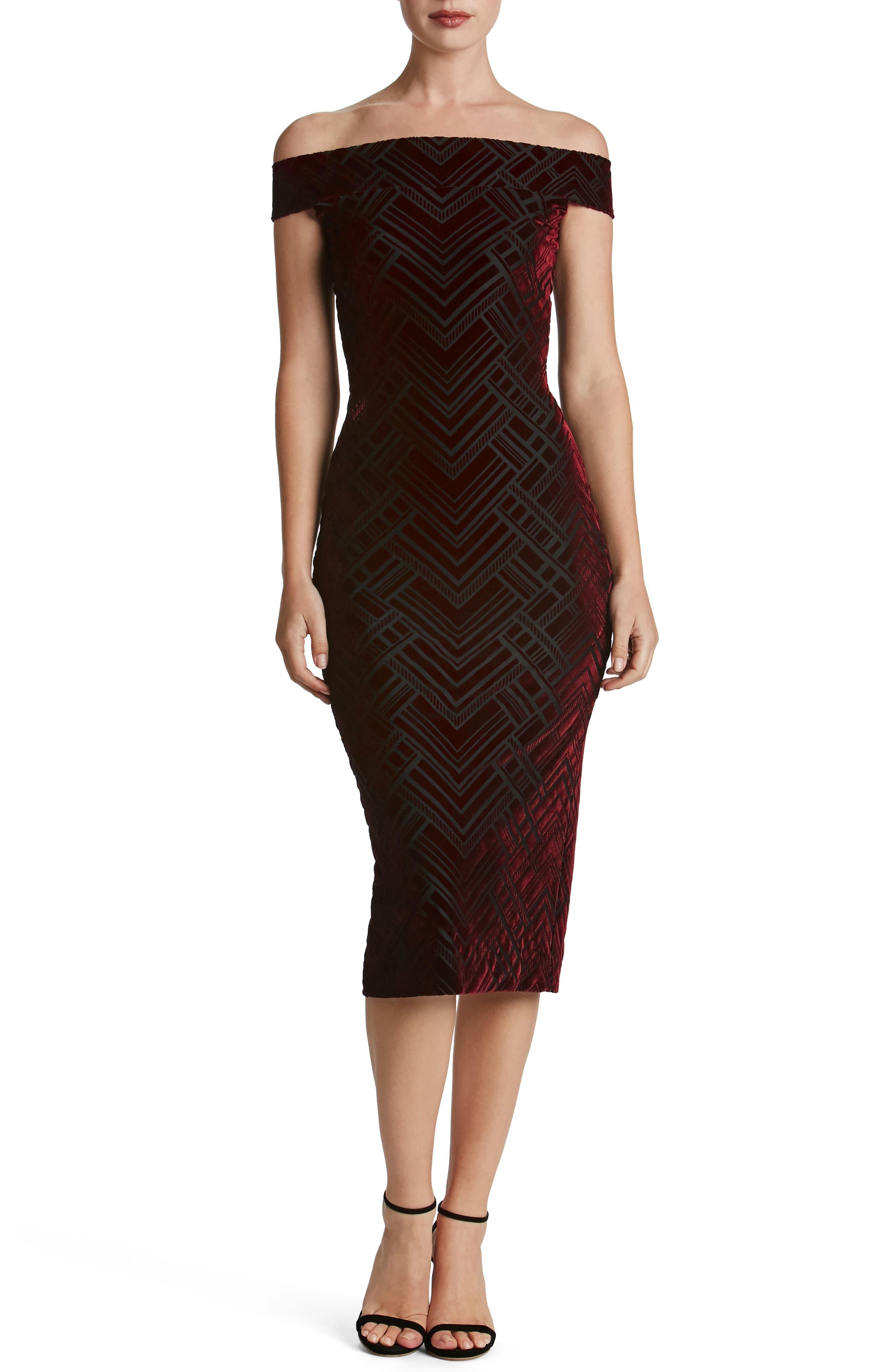 Eden Geo Print Velvet Off the Shoulder Dress,                             Main thumbnail 1, color,                             Burgundy/ Black