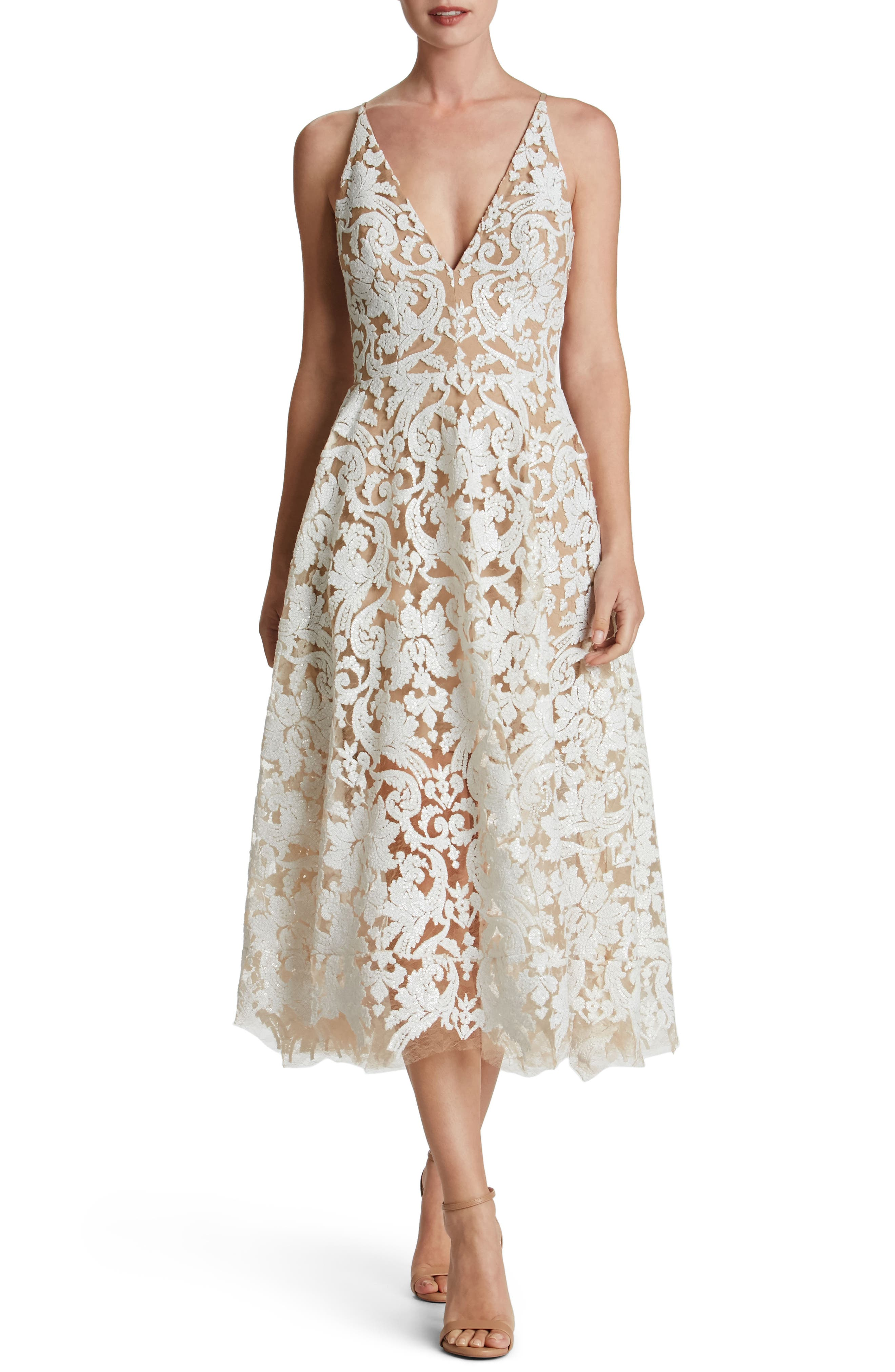 Blair Embellished Fit & Flare Dress,                         Main,                         color, White/ Nude