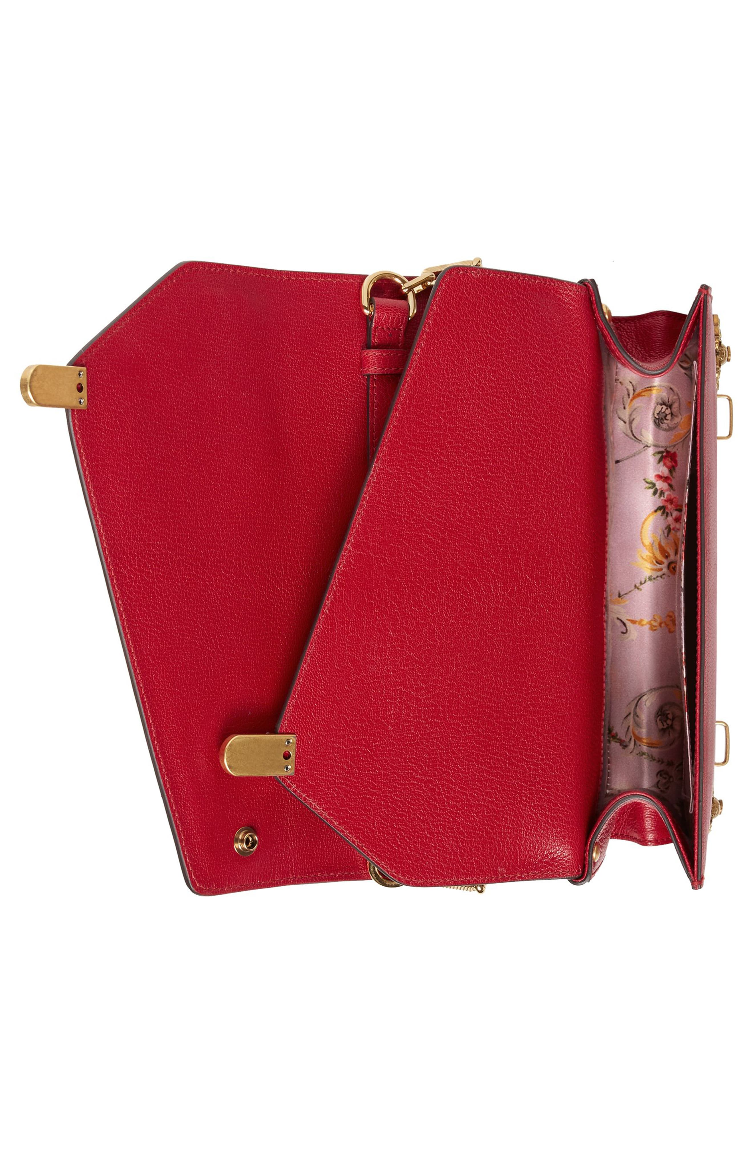 Small Linea P Painted Insects Leather Top Handle Satchel,                             Alternate thumbnail 3, color,                             Rosso