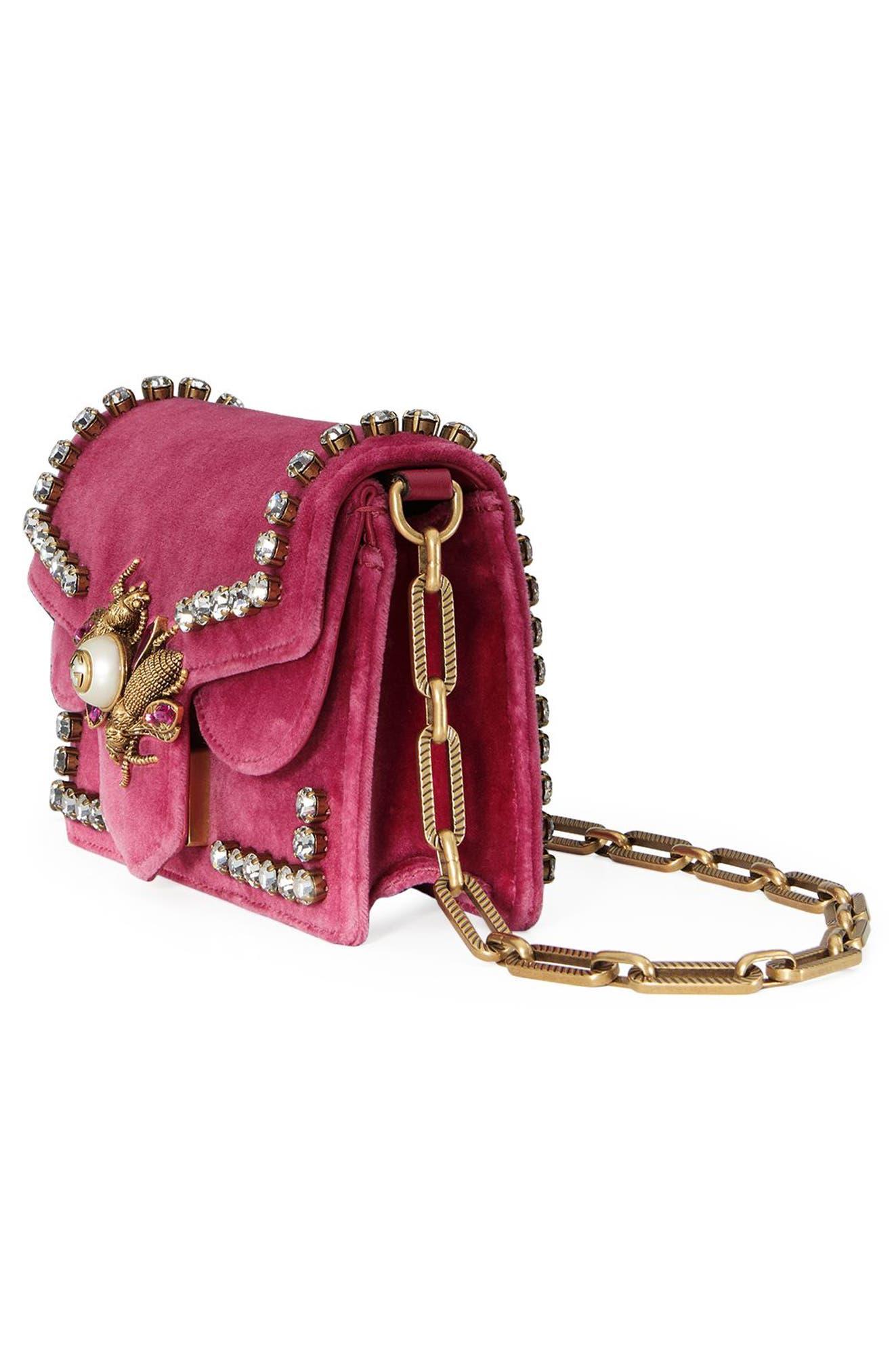 Broadway Bee Velvet Shoulder Bag,                             Alternate thumbnail 4, color,                             Pink
