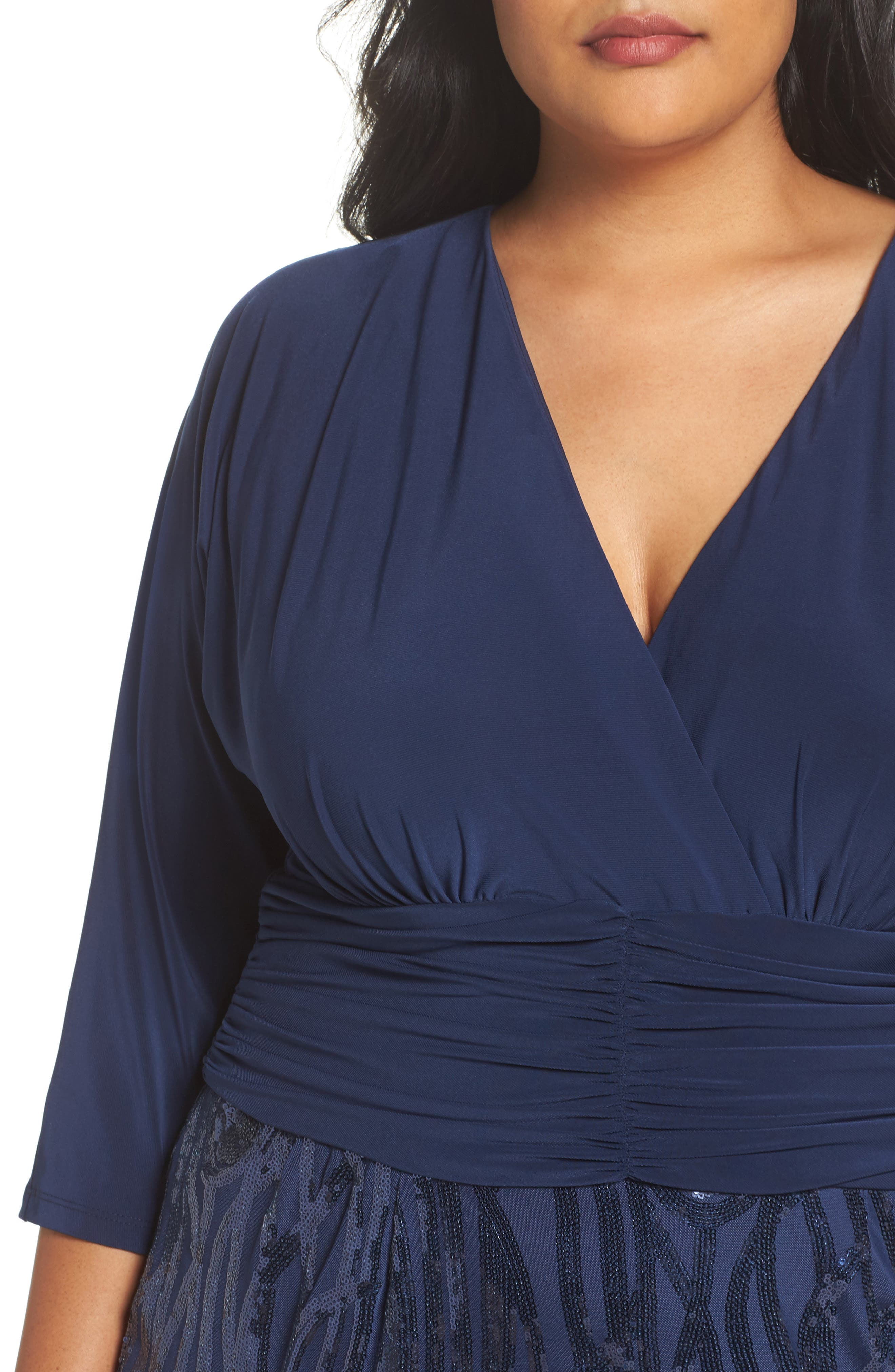 Alternate Image 4  - Brianna Embellished Shirred Waist Gown (Plus Size)
