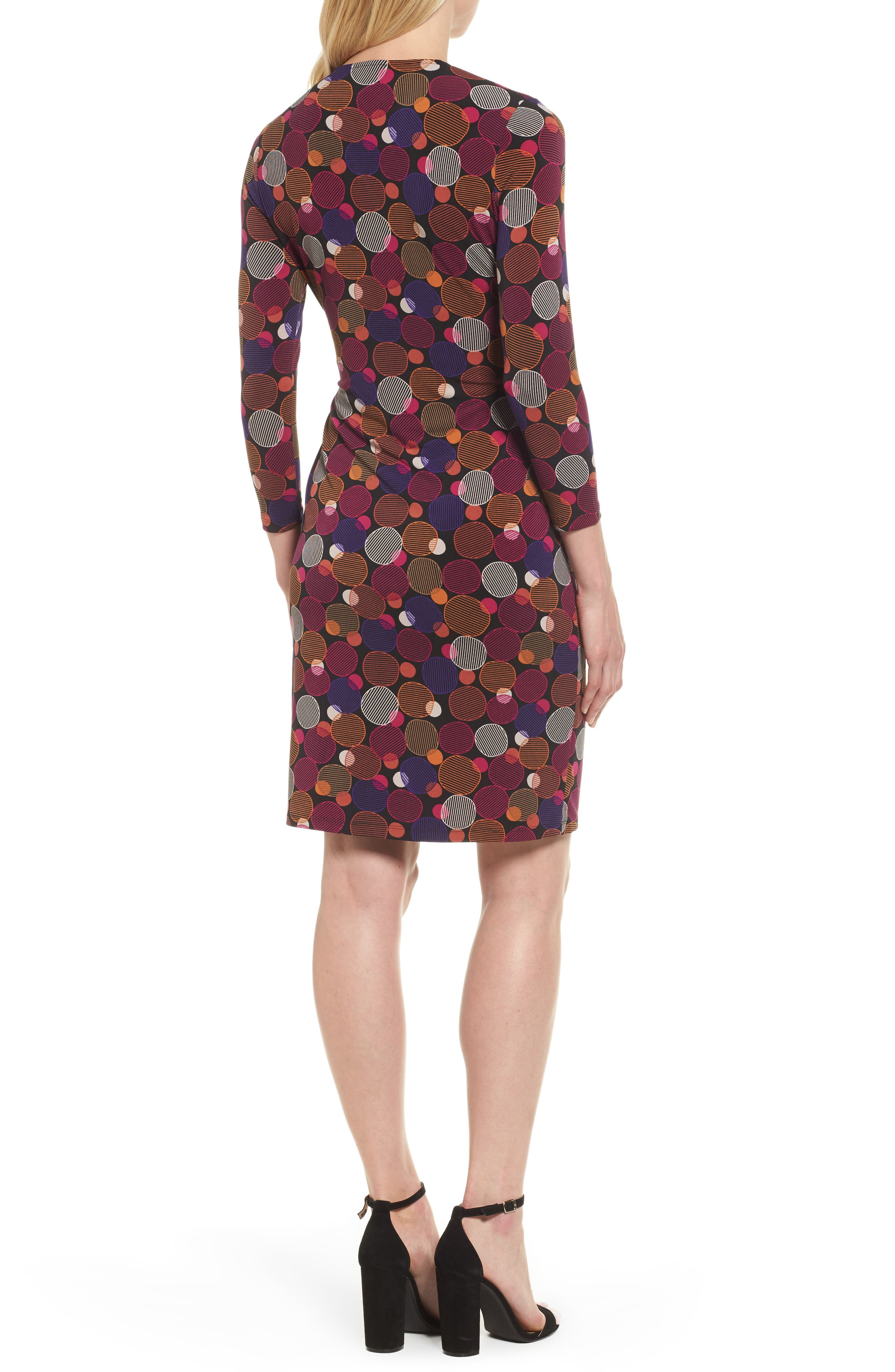 Dot Print Faux Wrap Dress,                             Alternate thumbnail 2, color,                             Cinnamon/ Claret Combo