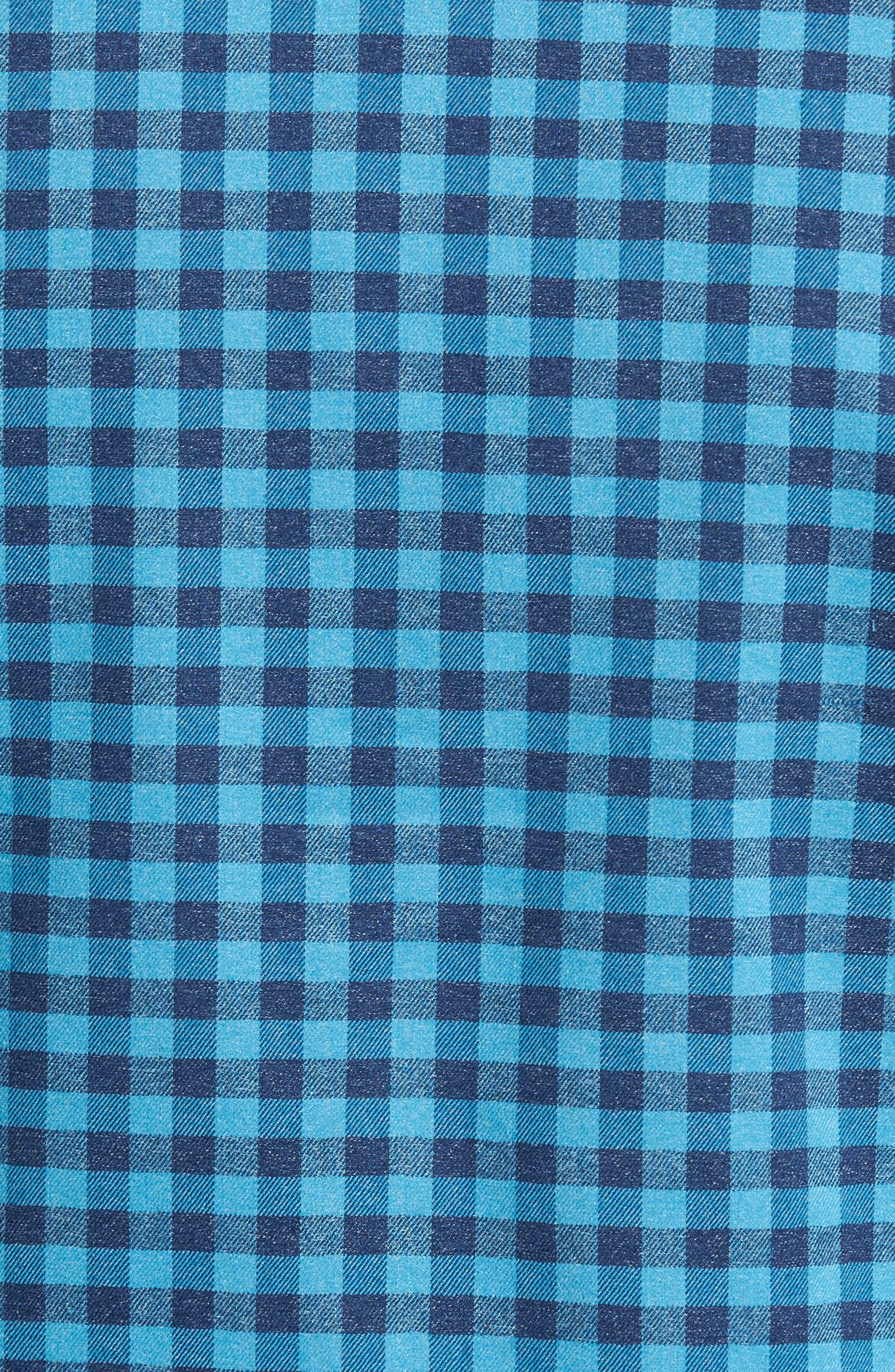 Vedder Gingham Regular Fit Performance Sport Shirt,                             Alternate thumbnail 5, color,                             Midnight
