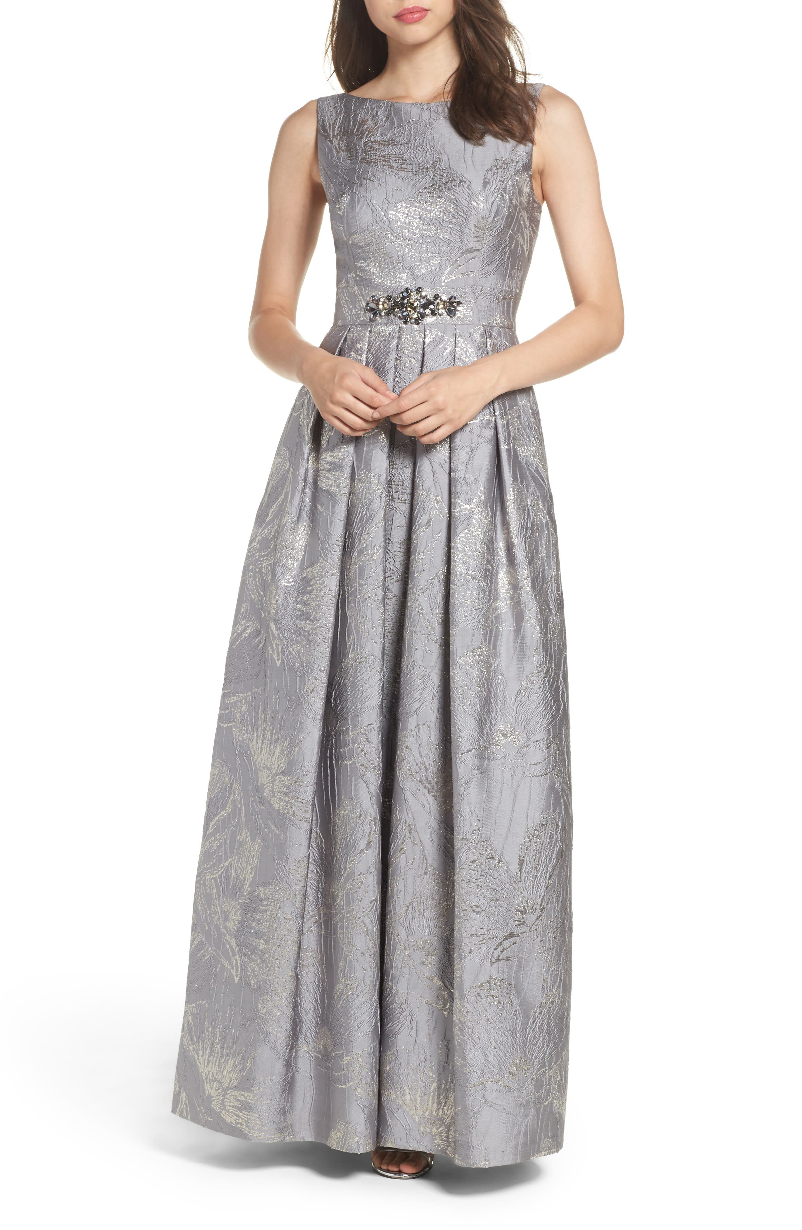 Embellished Brocade Ballgown,                             Main thumbnail 1, color,                             Silver