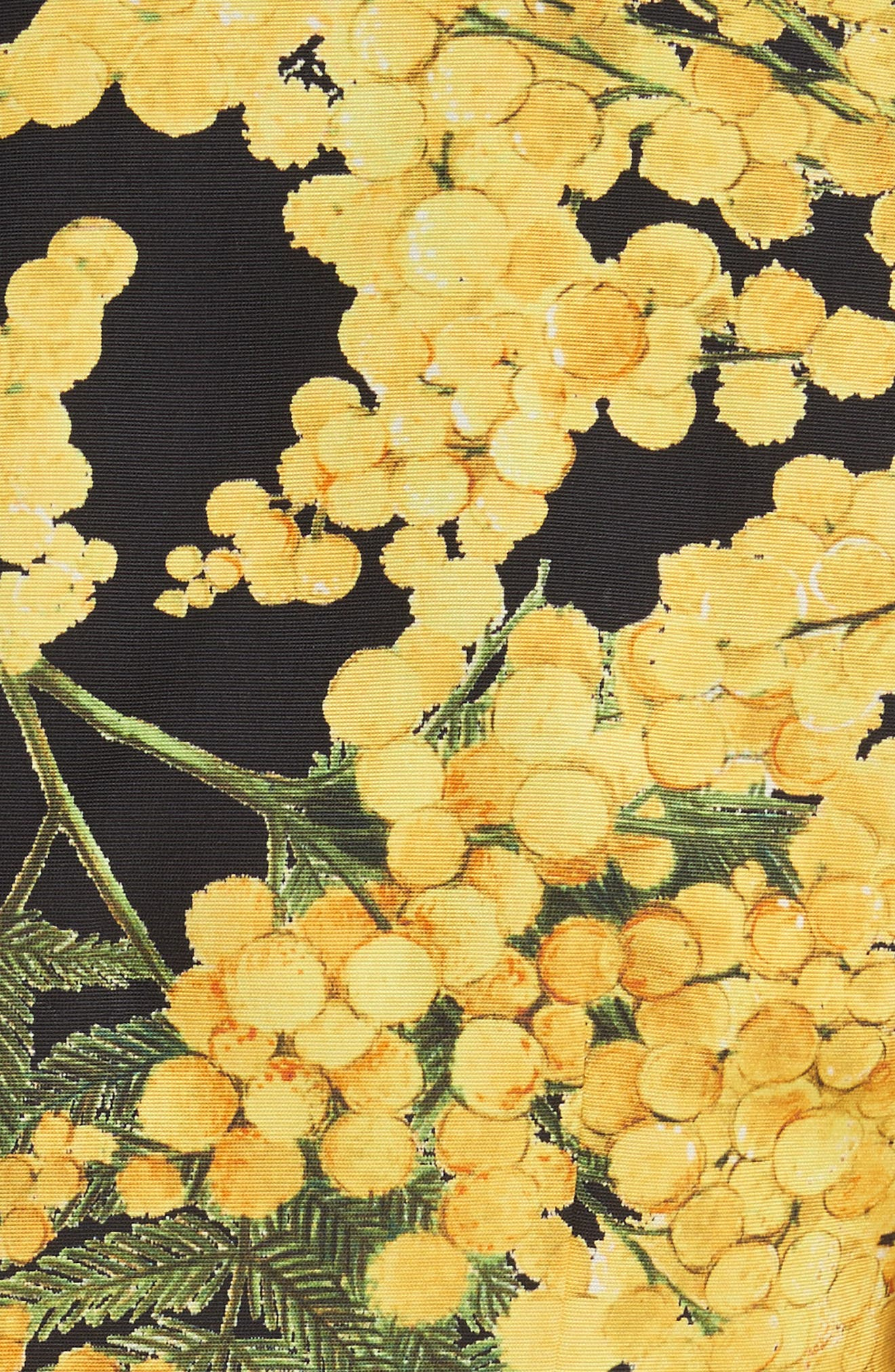Floral Print Faille Day Dress,                             Alternate thumbnail 6, color,                             Freesia Yellow/Black