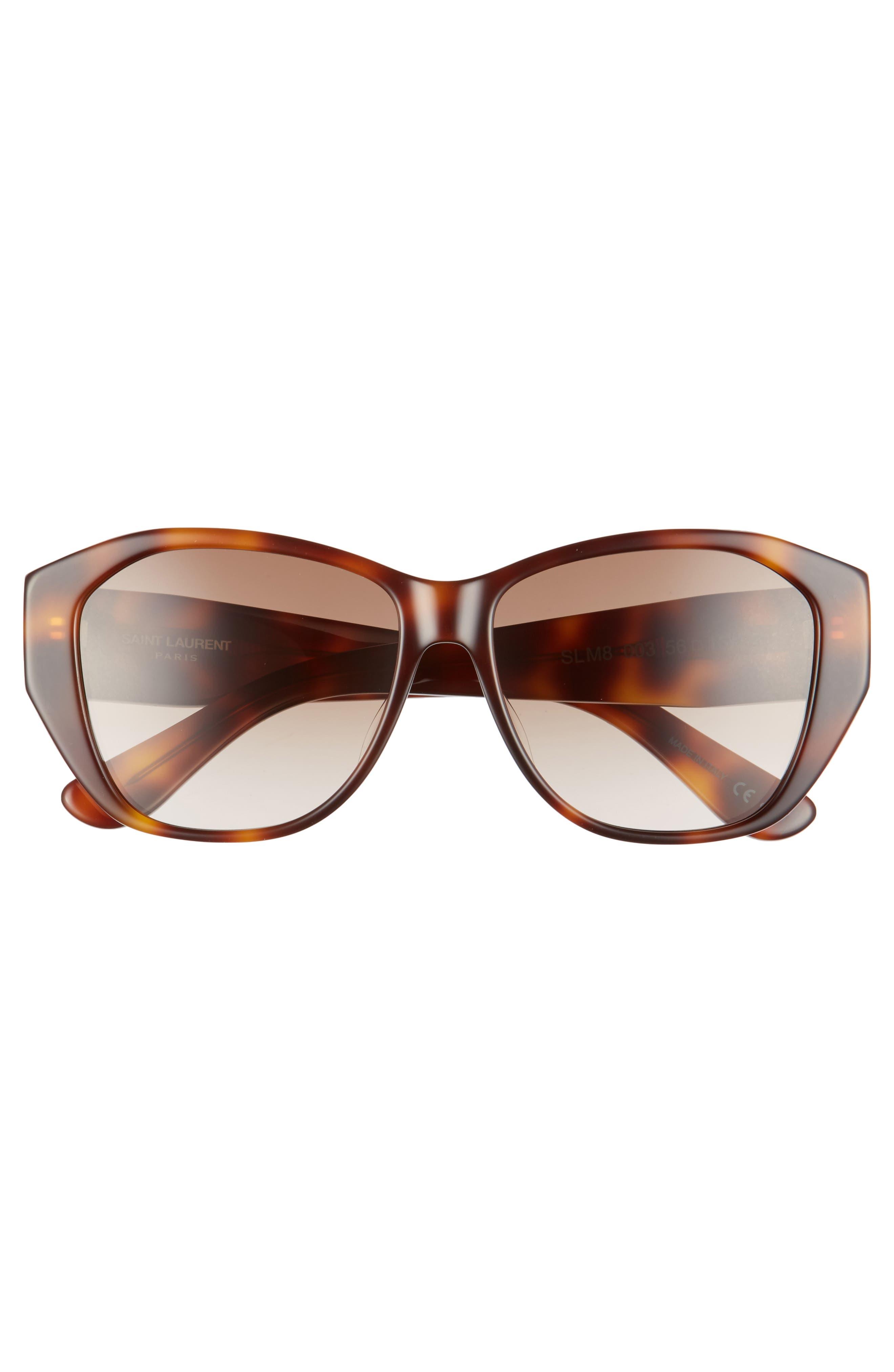 56mm Sunglasses,                             Alternate thumbnail 3, color,                             Havana/ Havana/ Brown