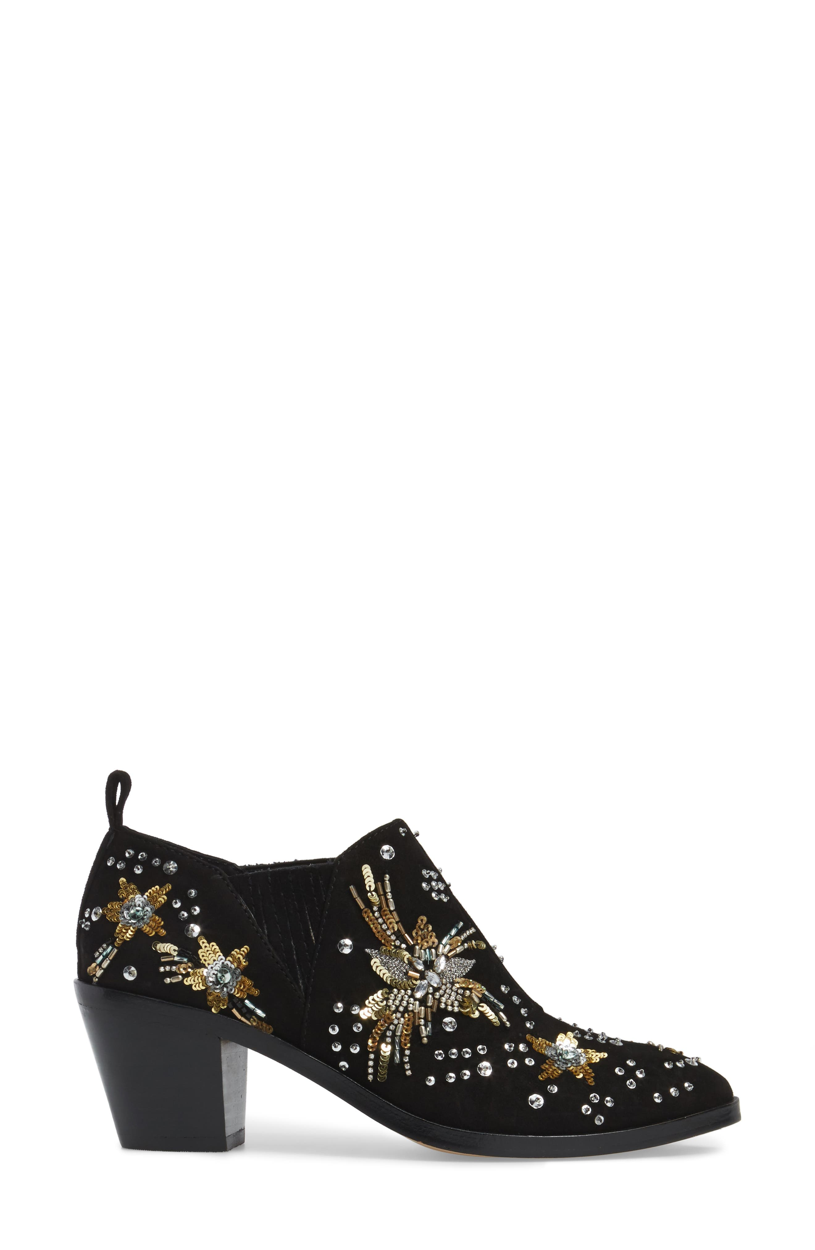Lucy Embellished Bootie,                             Alternate thumbnail 3, color,                             Black