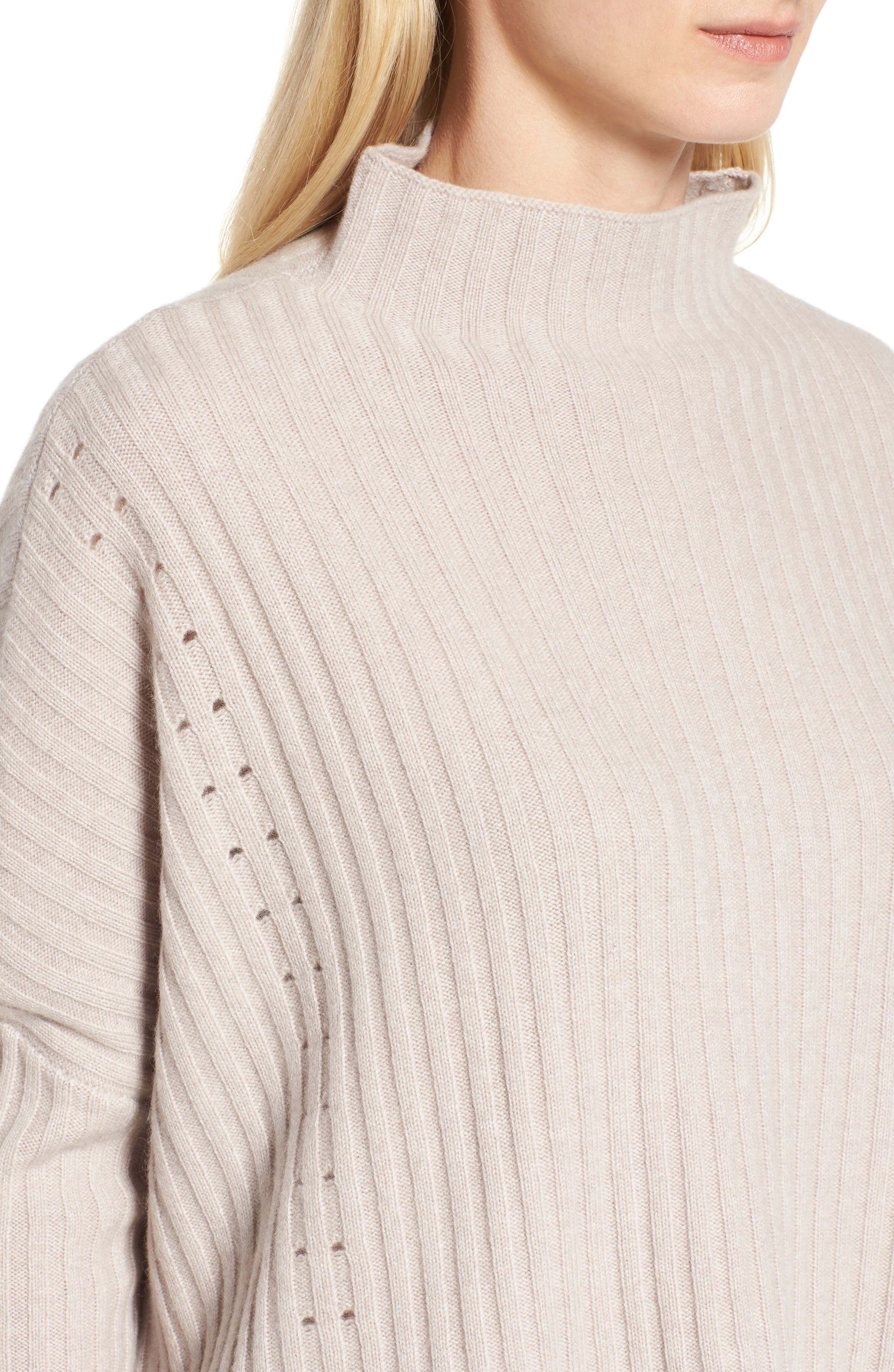Boxy Ribbed Cashmere Sweater,                             Alternate thumbnail 4, color,                             Beige Pumice Heather
