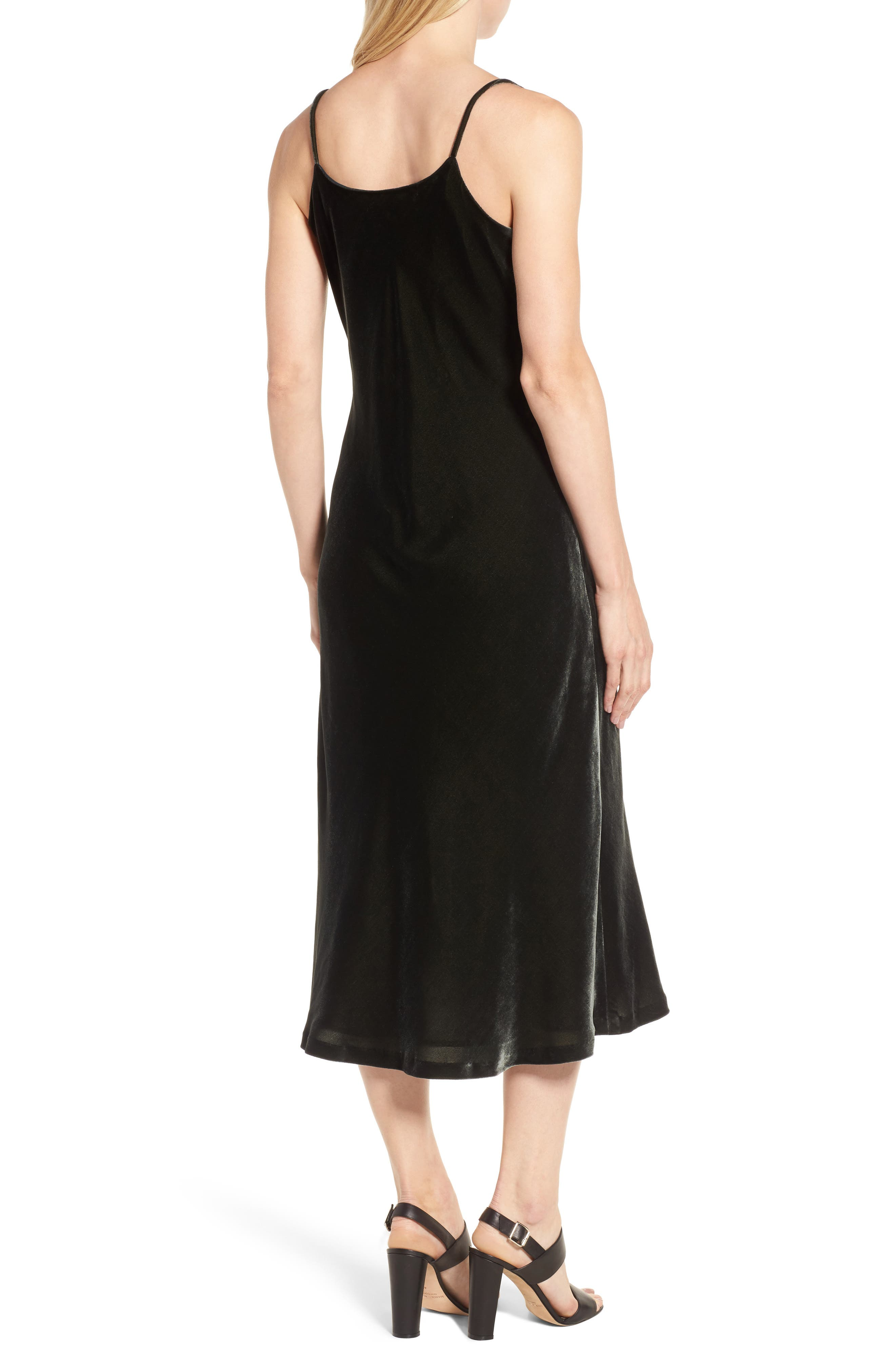 Velvet Slipdress,                             Alternate thumbnail 2, color,                             Olive Sarma