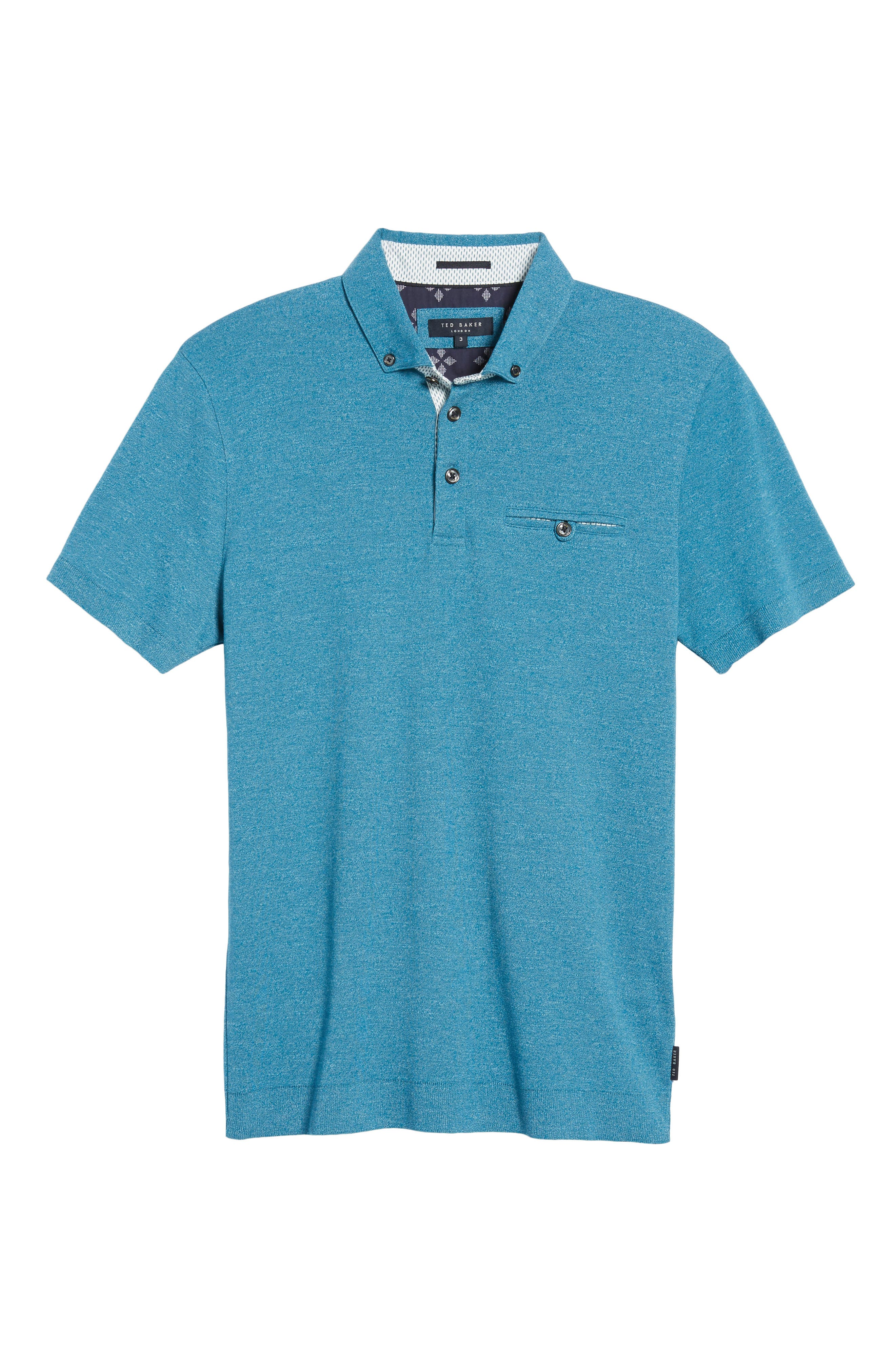 Frankiy Button Collar Polo,                             Alternate thumbnail 5, color,                             Teal