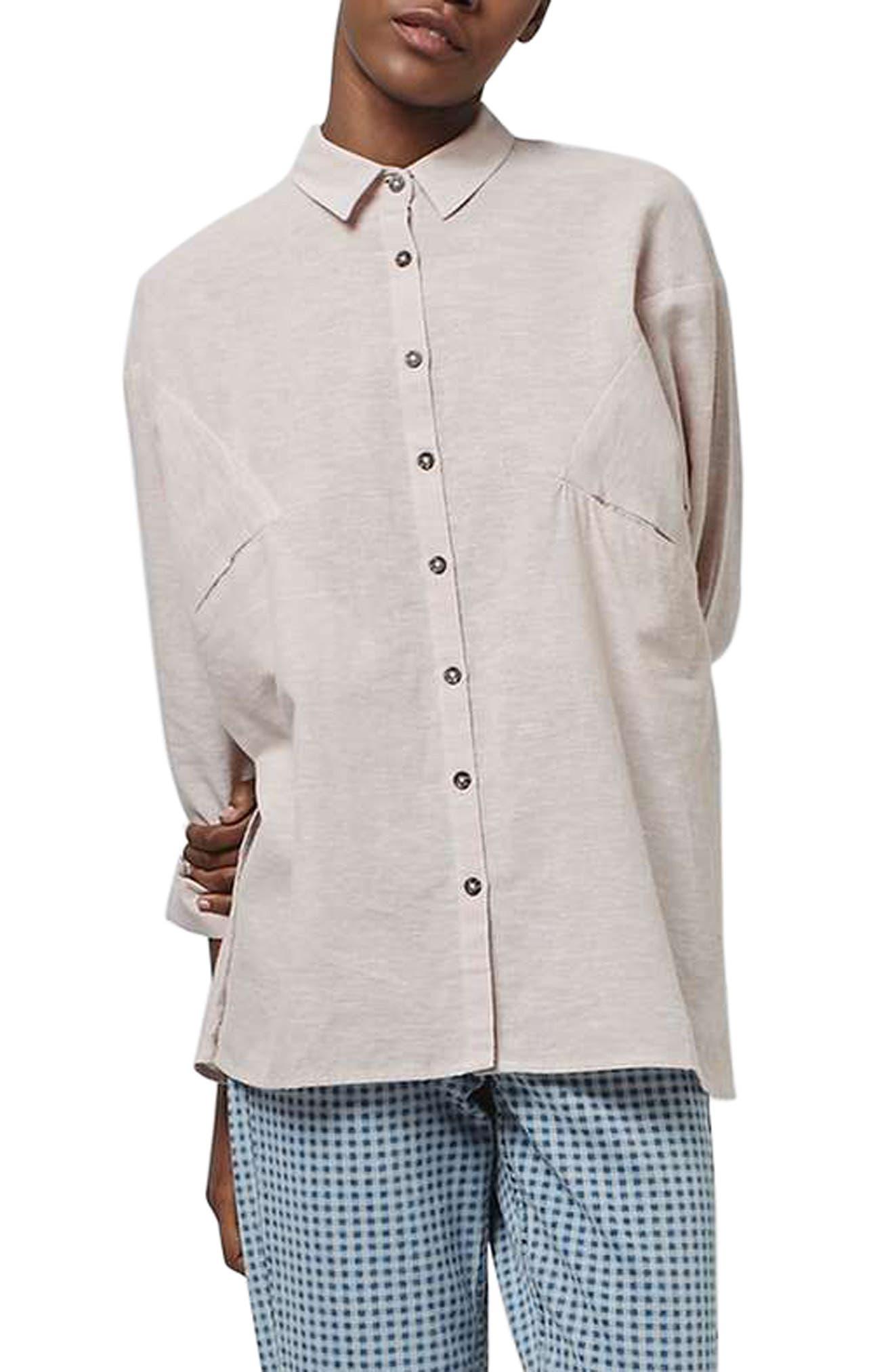 Main Image - Topshop 'Ivy' Oversize Chambray Shirt