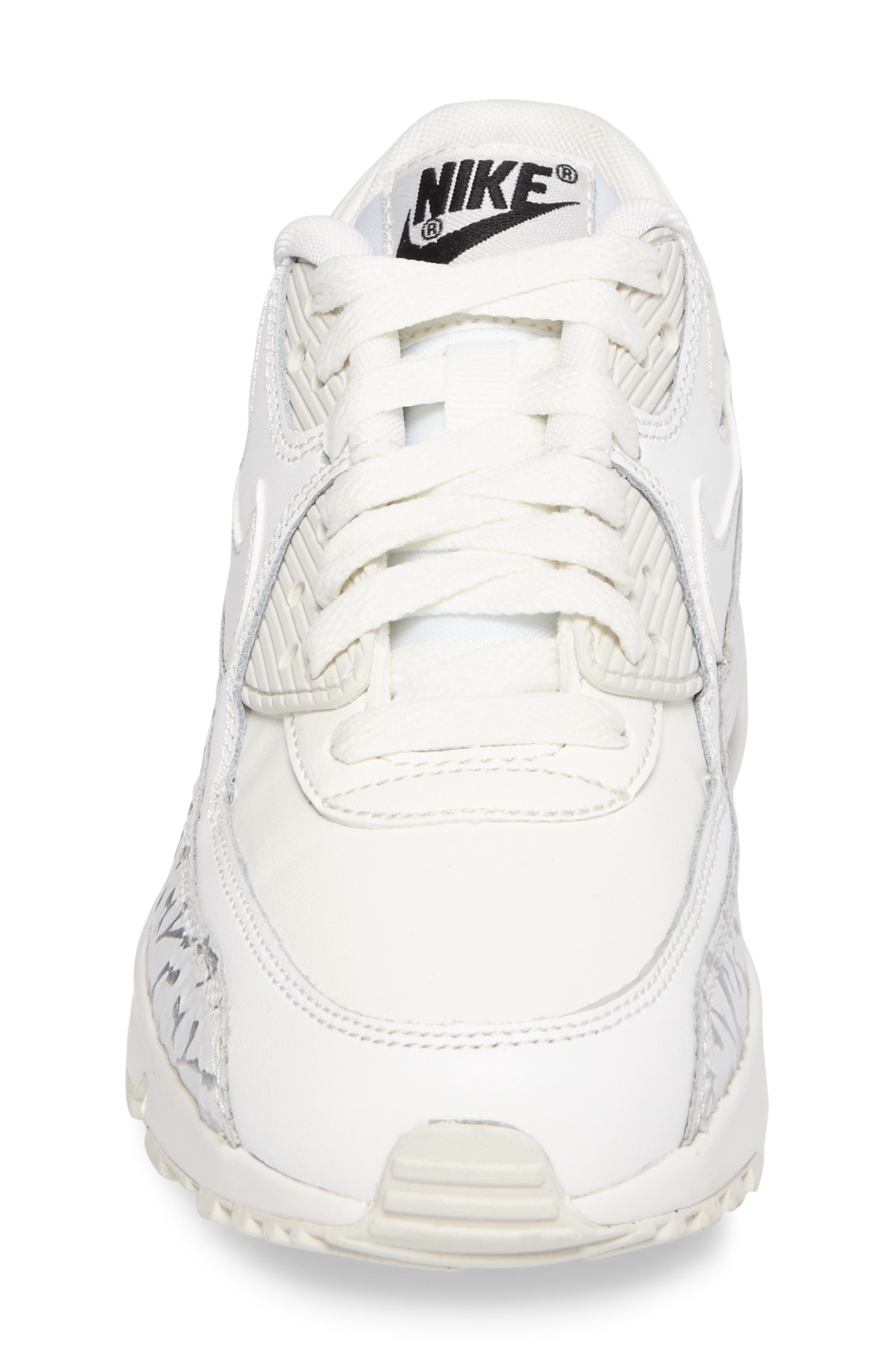 Air Max 90 Leather Sneaker,                             Alternate thumbnail 4, color,                             Summit White/ Black
