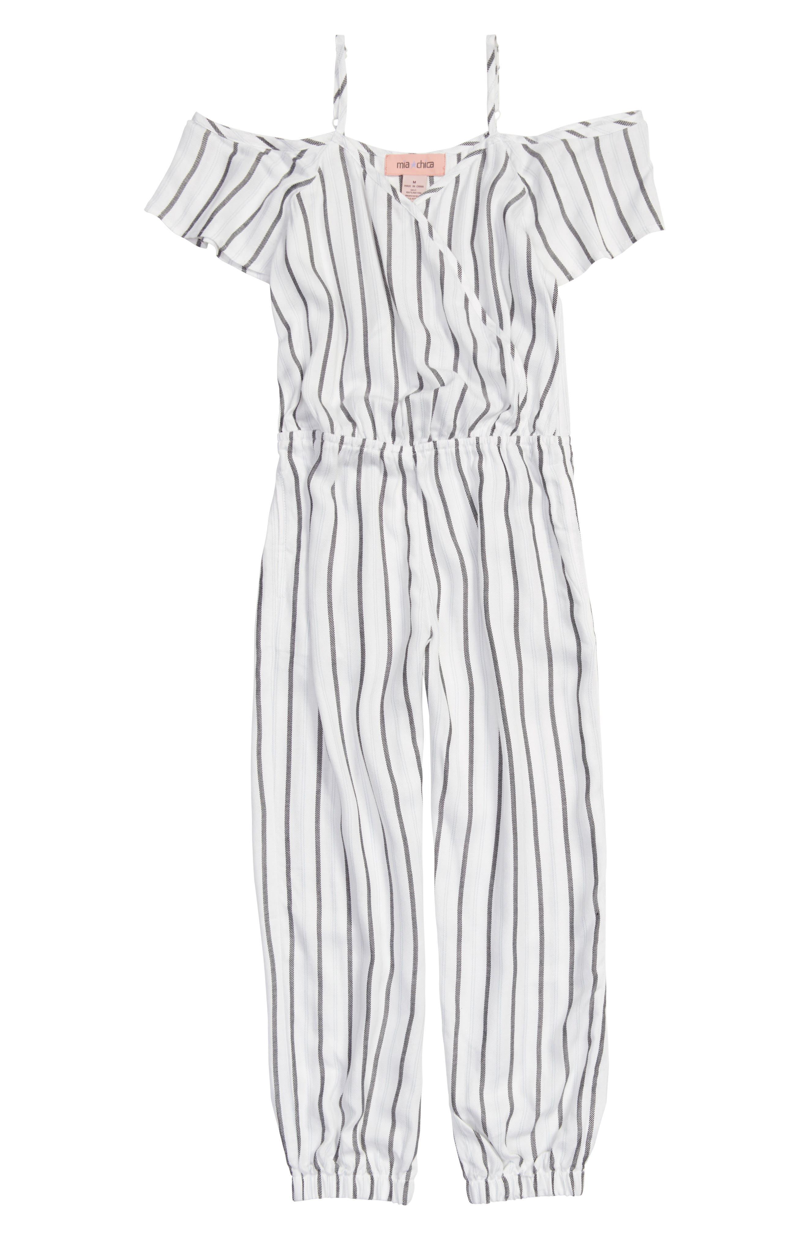 Cold Shoulder Jumpsuit,                             Main thumbnail 1, color,                             White/ Black