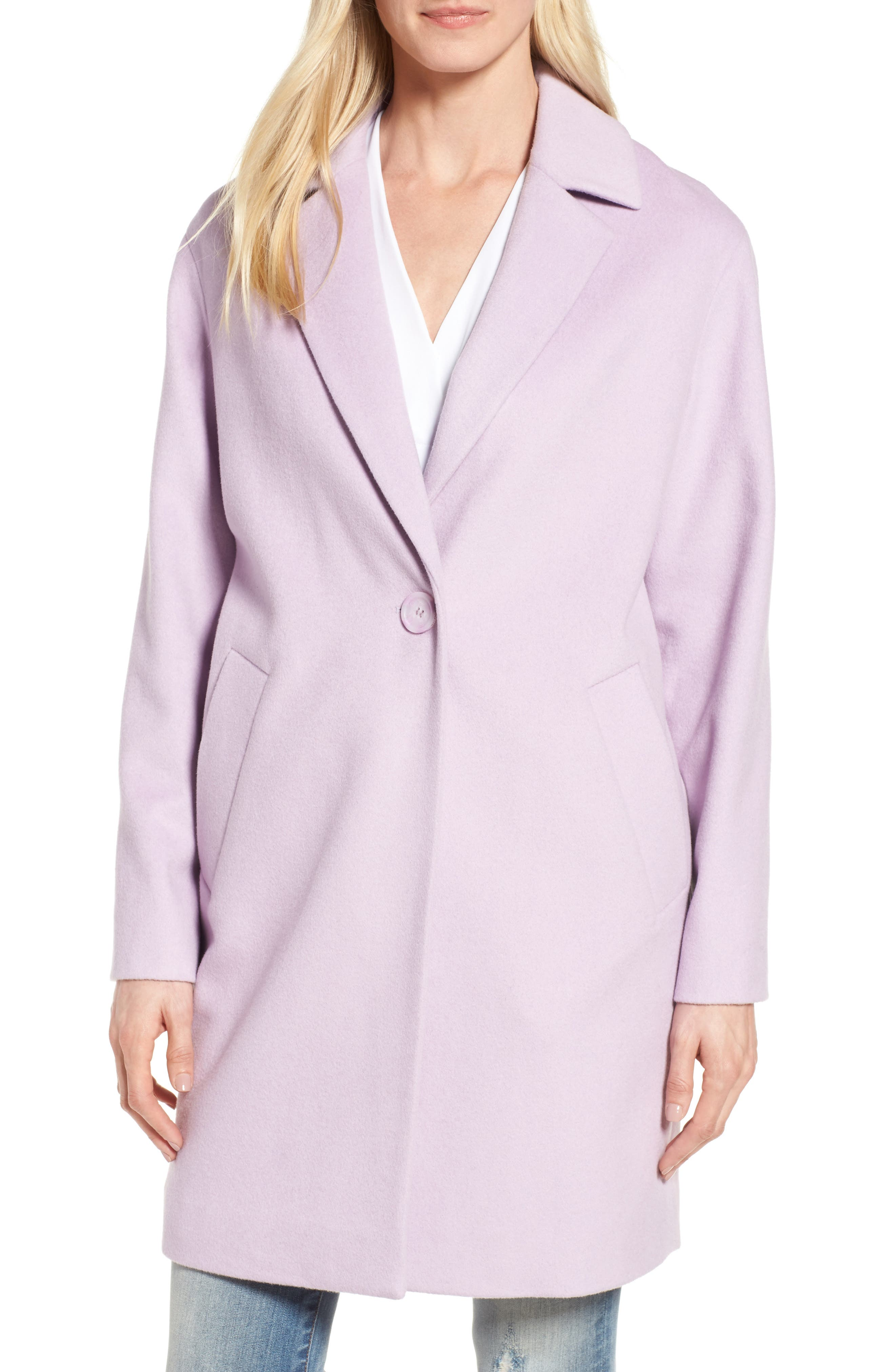 Wool Blend Coat,                         Main,                         color, Icy Lavendar
