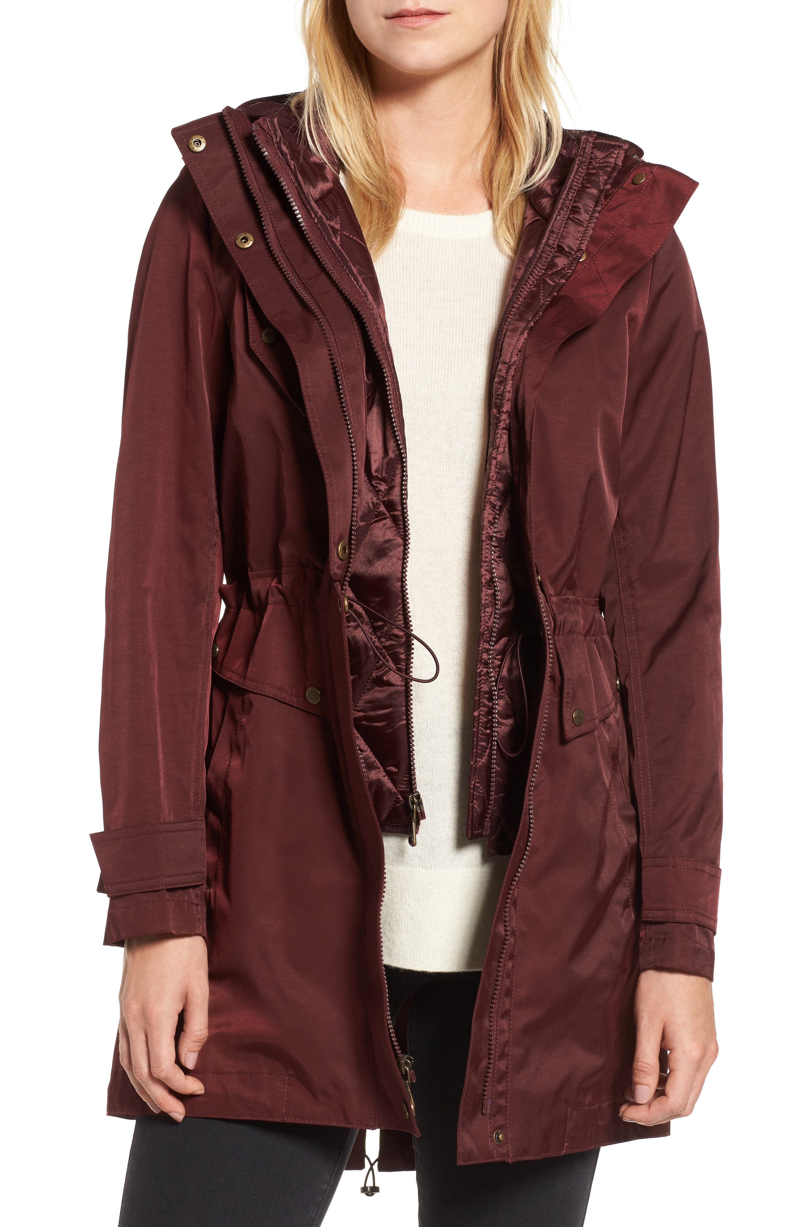 Parka with Detachable Bib Insert,                             Main thumbnail 1, color,                             Burgundy